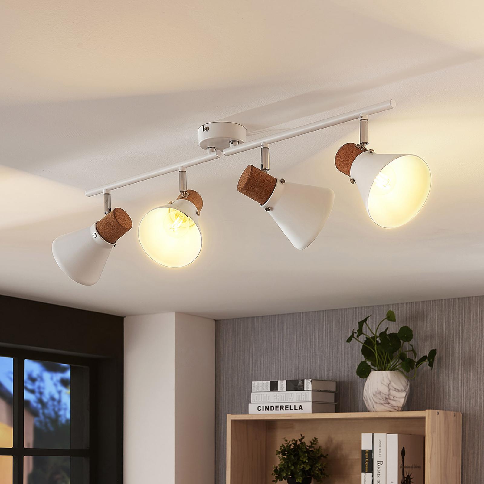 Spot pour plafond Silva à 4 lampes, décor en liège