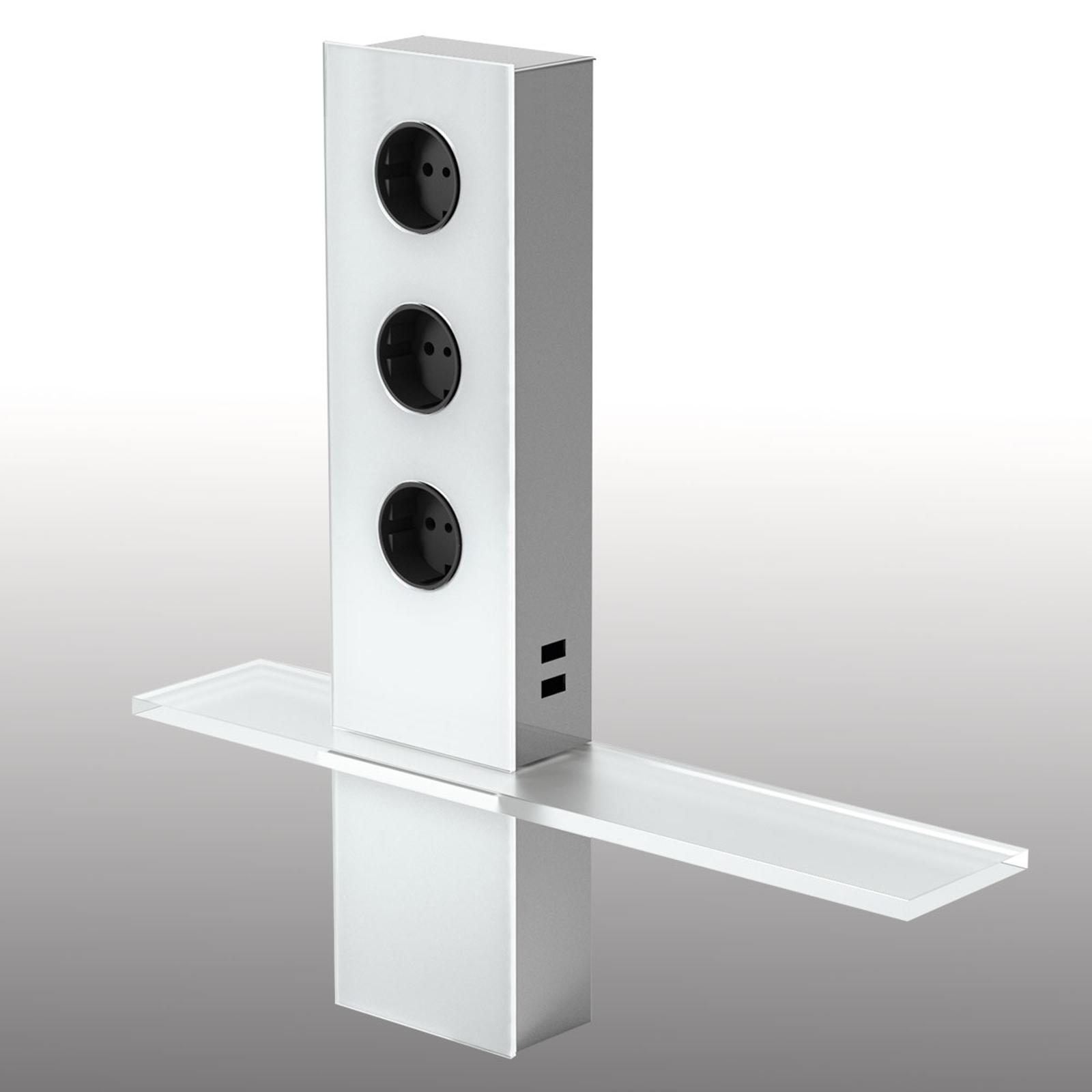 3er-Steckdosenturm Power mit USB und Ablage