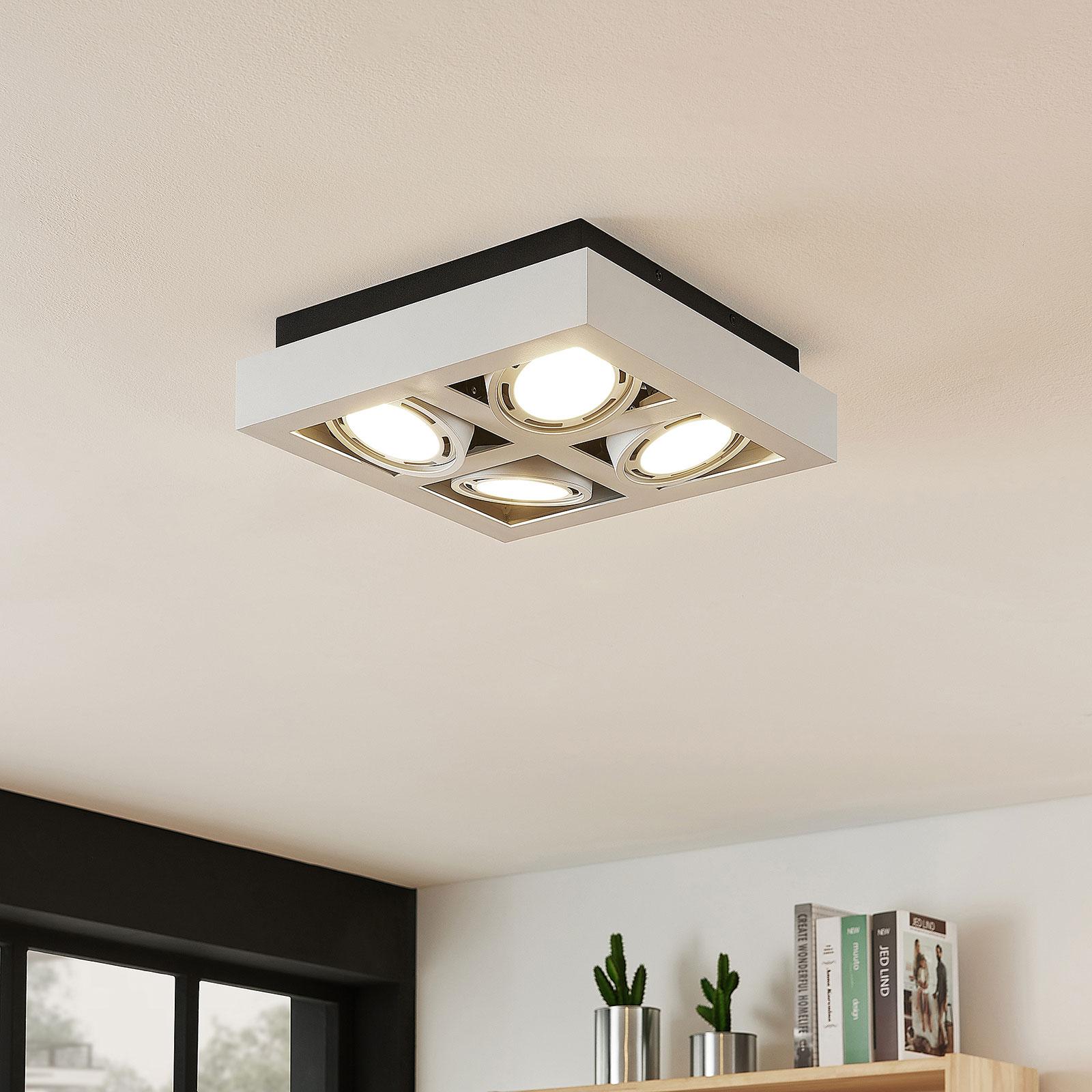 LED-Deckenstrahler Ronka, 4-fl., quadratisch, weiß