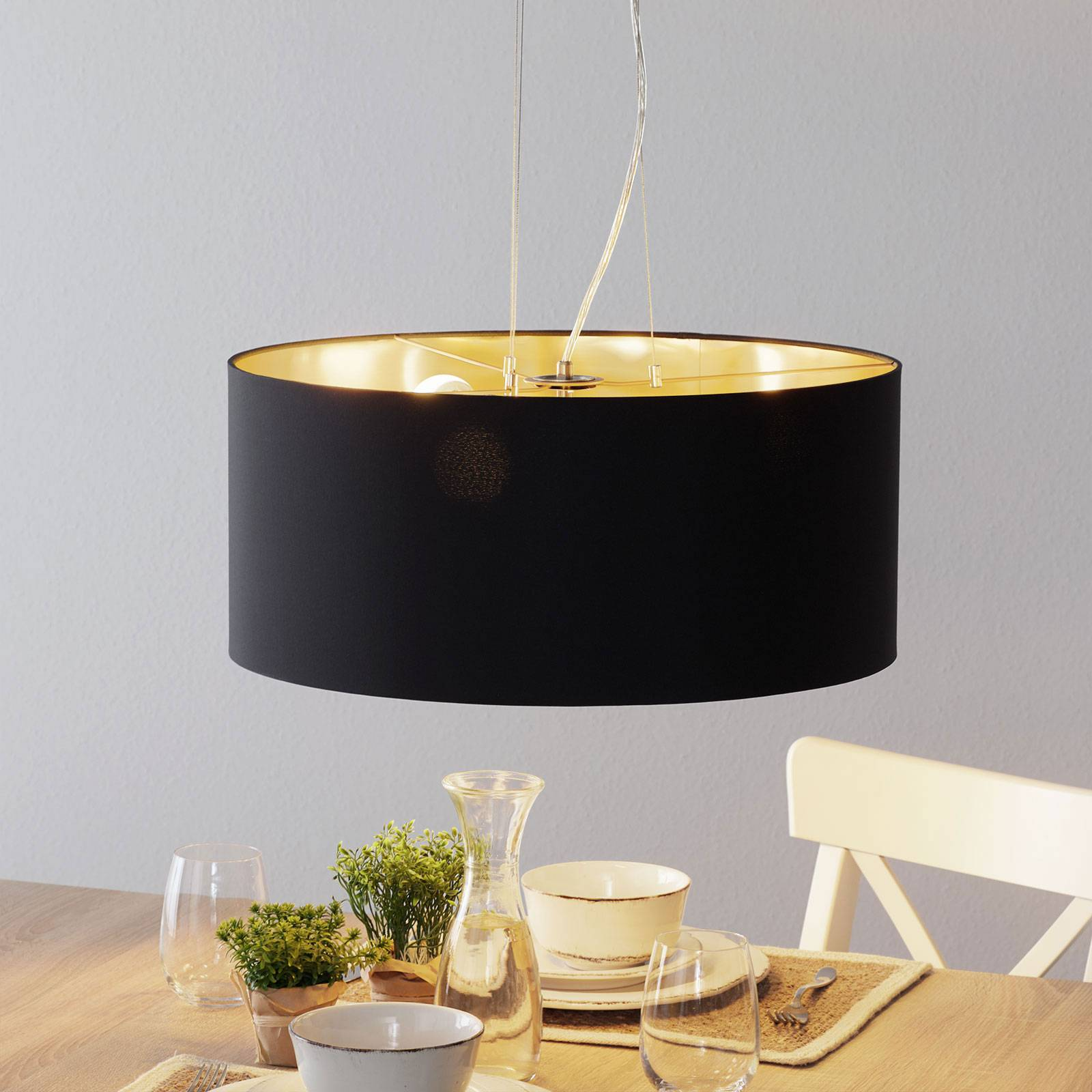 Lucande Patrik textiel-hanglamp Ø53cm zwart
