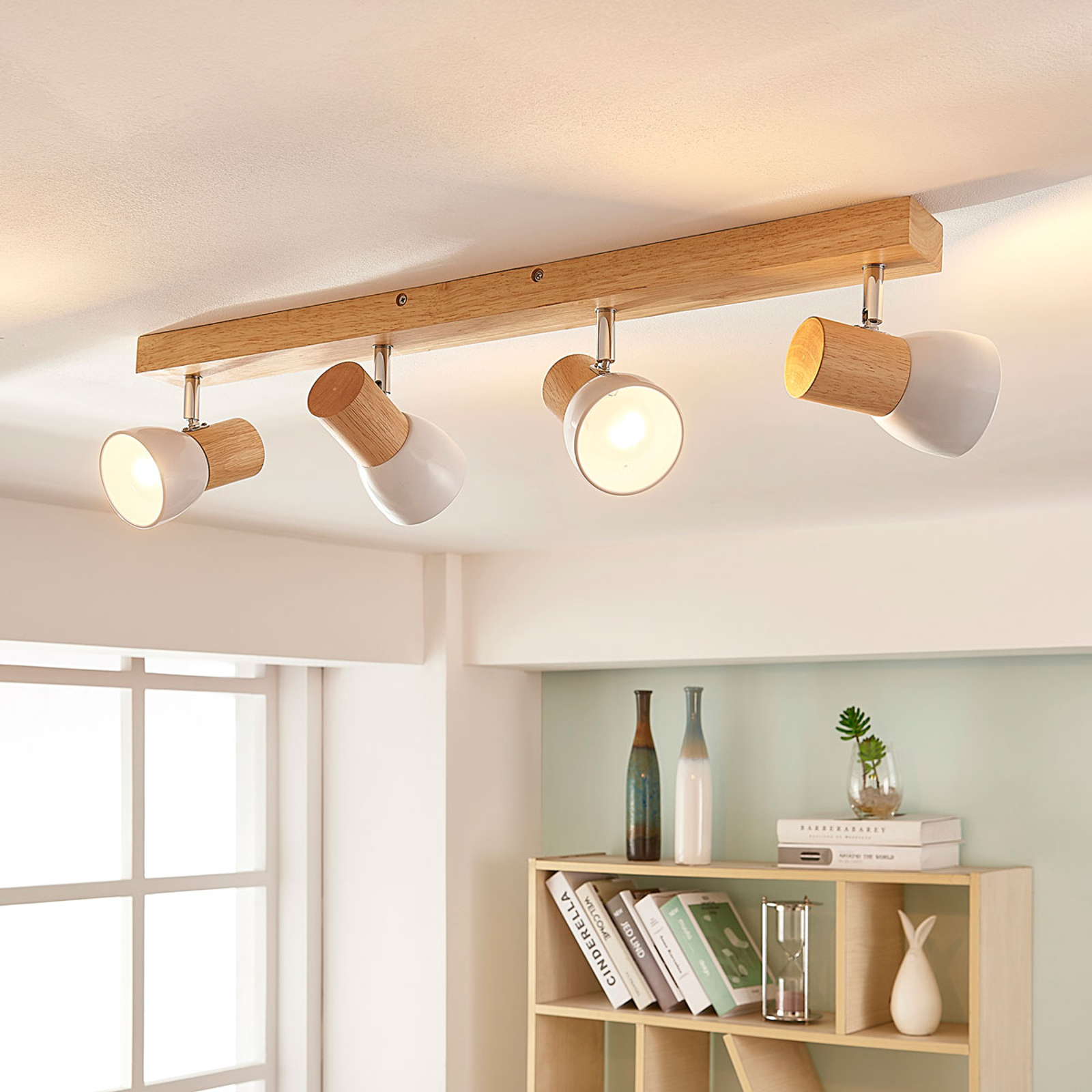 Wood ceiling spotlight Thorin with white shades_9621509_1