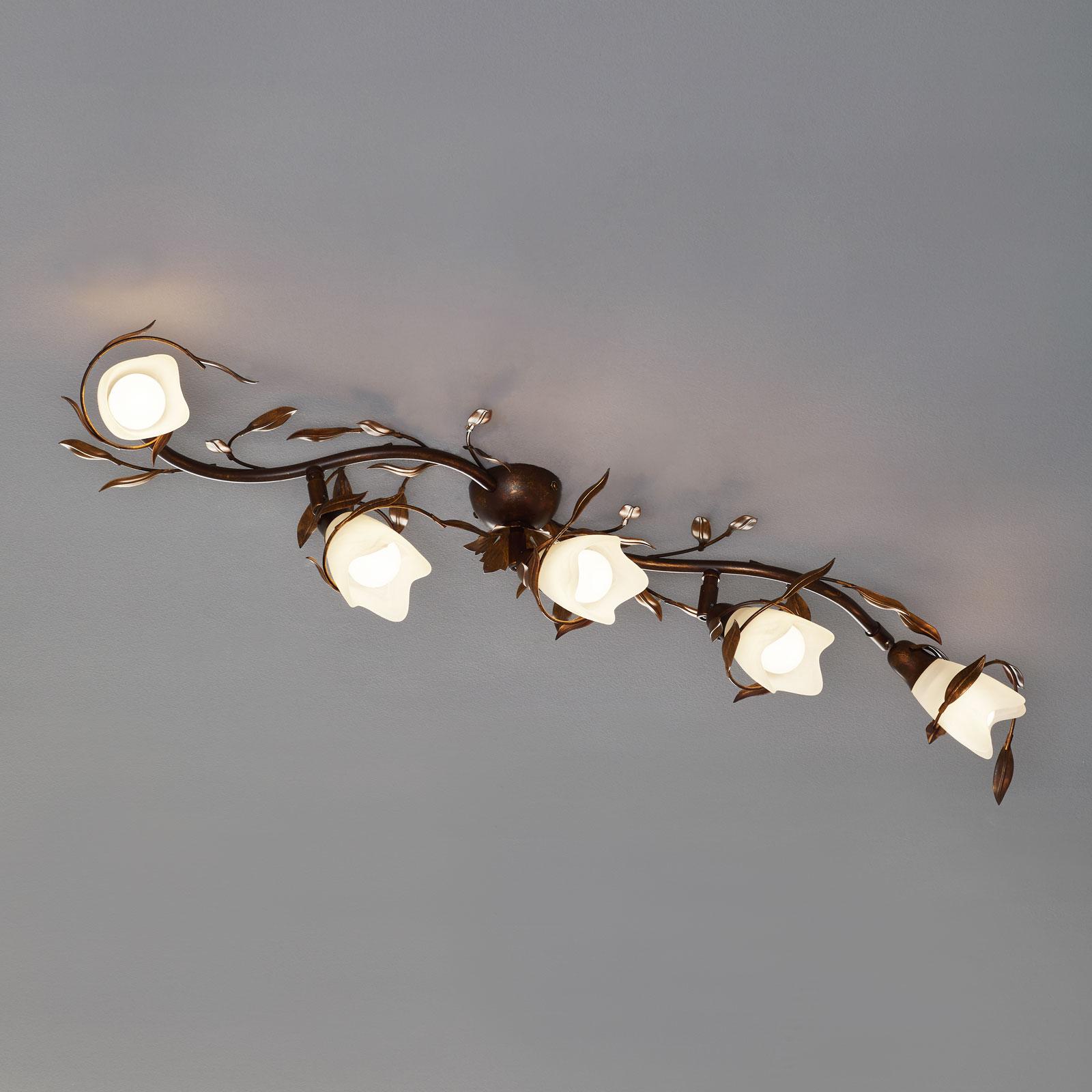 Lampa sufitowa Campana, 5-punktowa, zakrzywiona