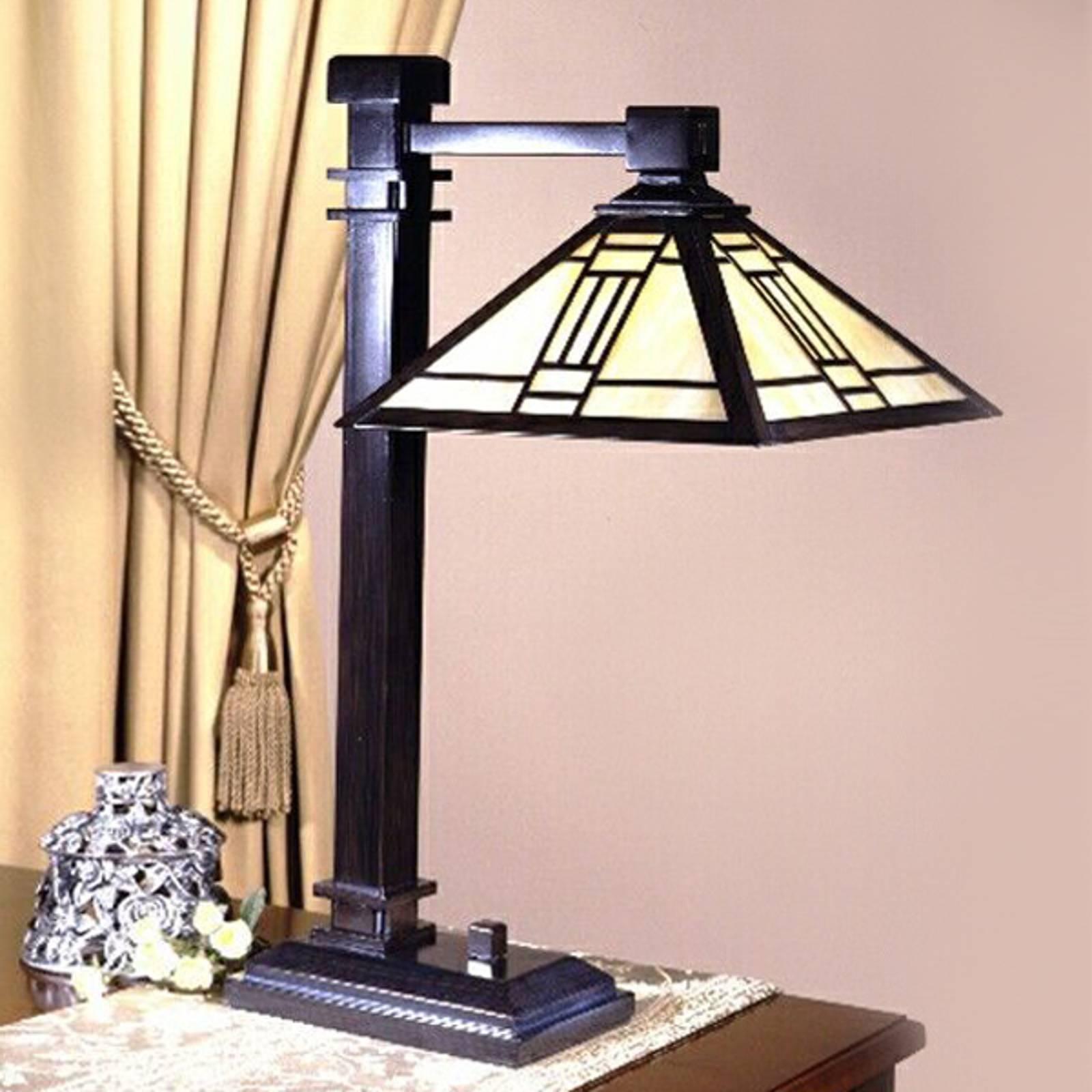 Tafellamp Delia met hoekige kap