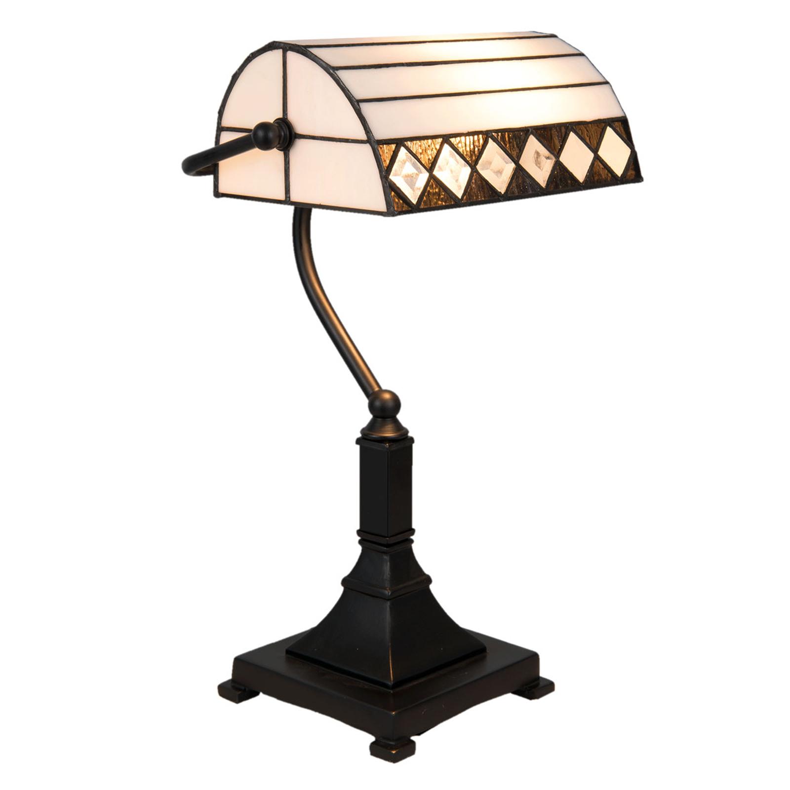 Schreibtischlampe 5196 Tiffany-Stil, weiß-schwarz