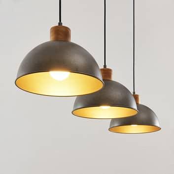 Lindby Holgar závěsné světlo, dřevo a kov, 3žár.