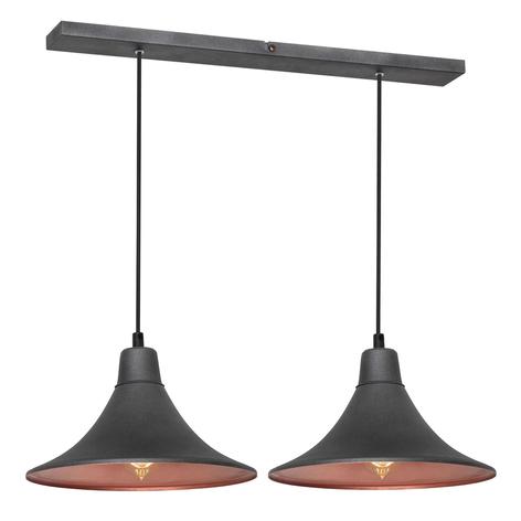 Suspension 785, à 2 lampes, graphite/cuivrée