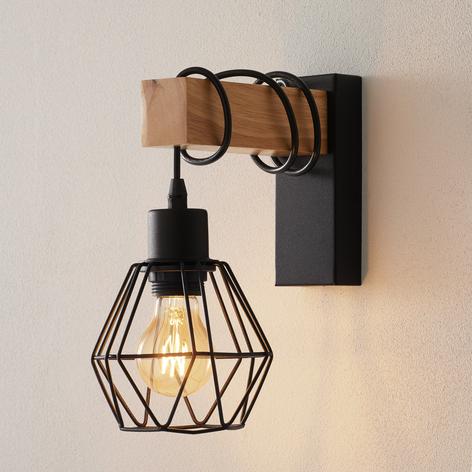 Wandlamp Townshend 5 hout overhangend + kap
