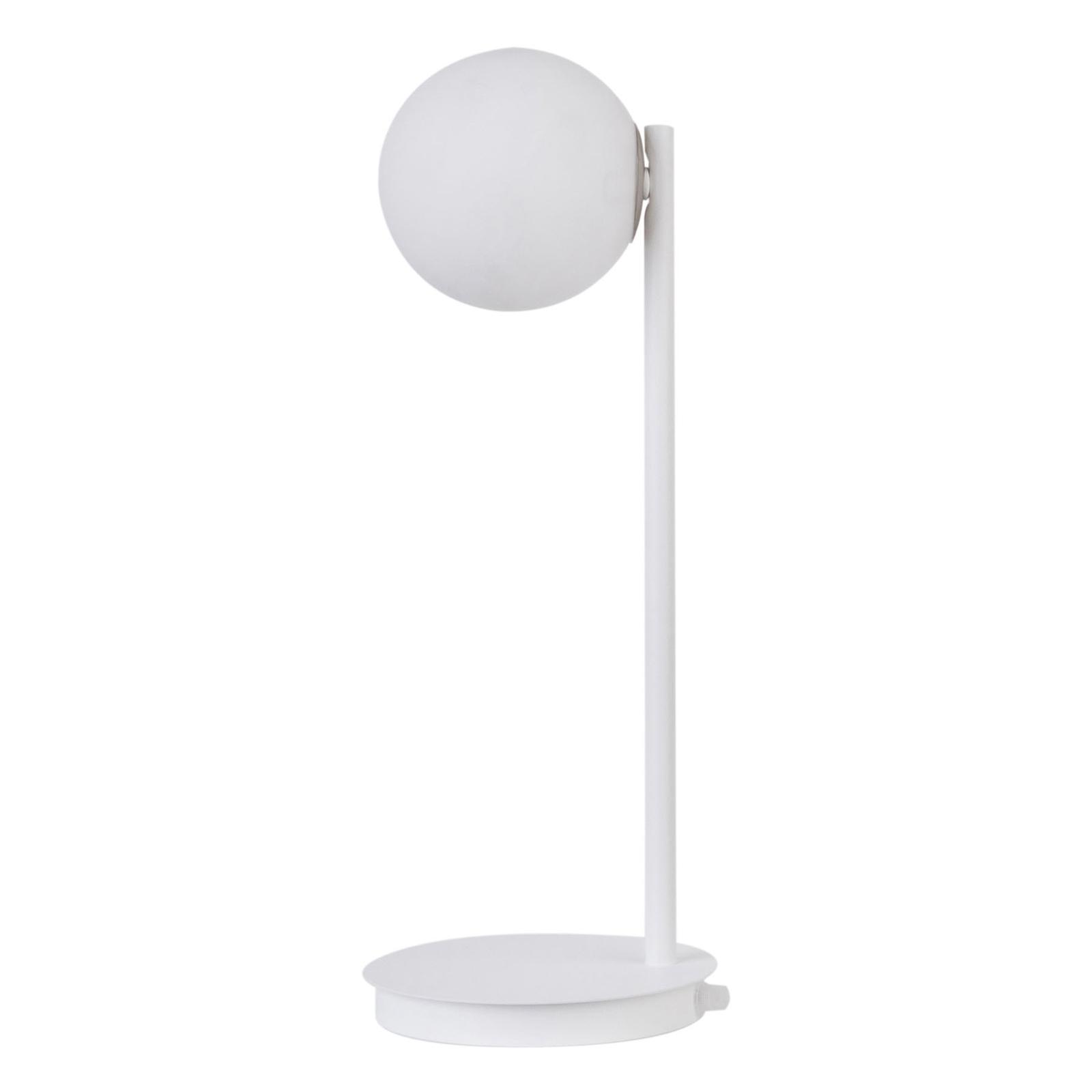 Gama bordlampe i hvid med glaskugle