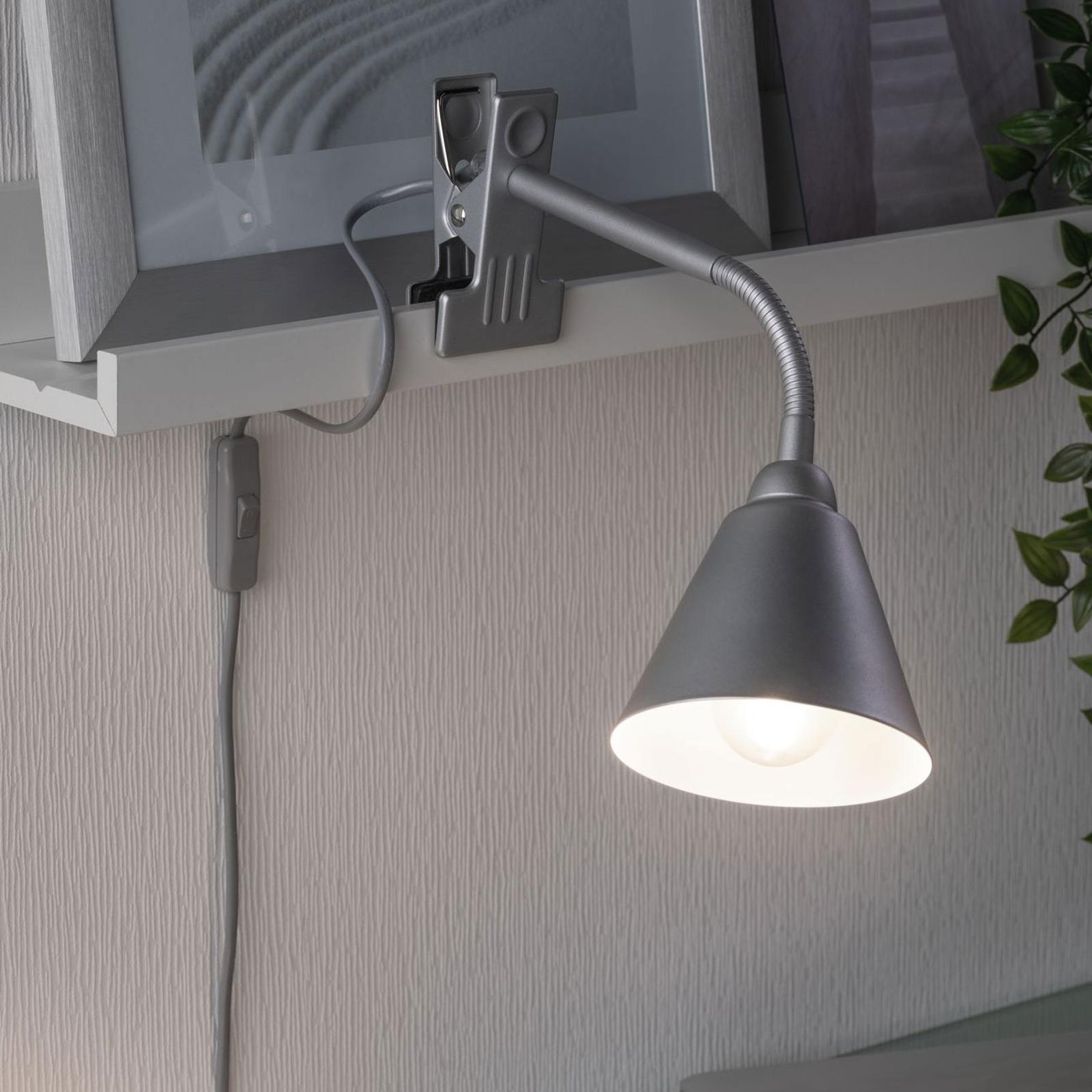 Paulmann Vitis lampa z klipsem, szara