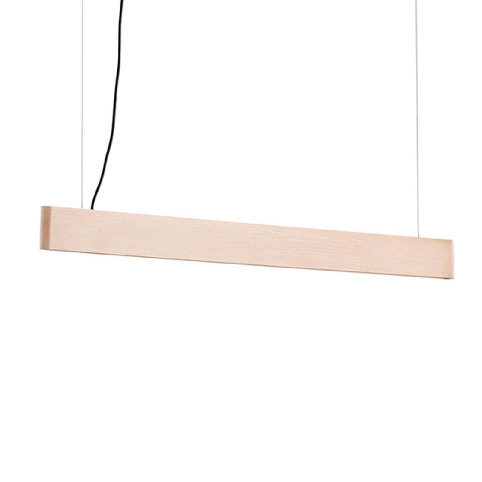 LED-pendellampe Abbon med treskjerm, bøk, 70 cm
