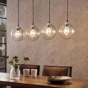 Lindby Odila lámpara colgante 4 bolas vidrio, gris