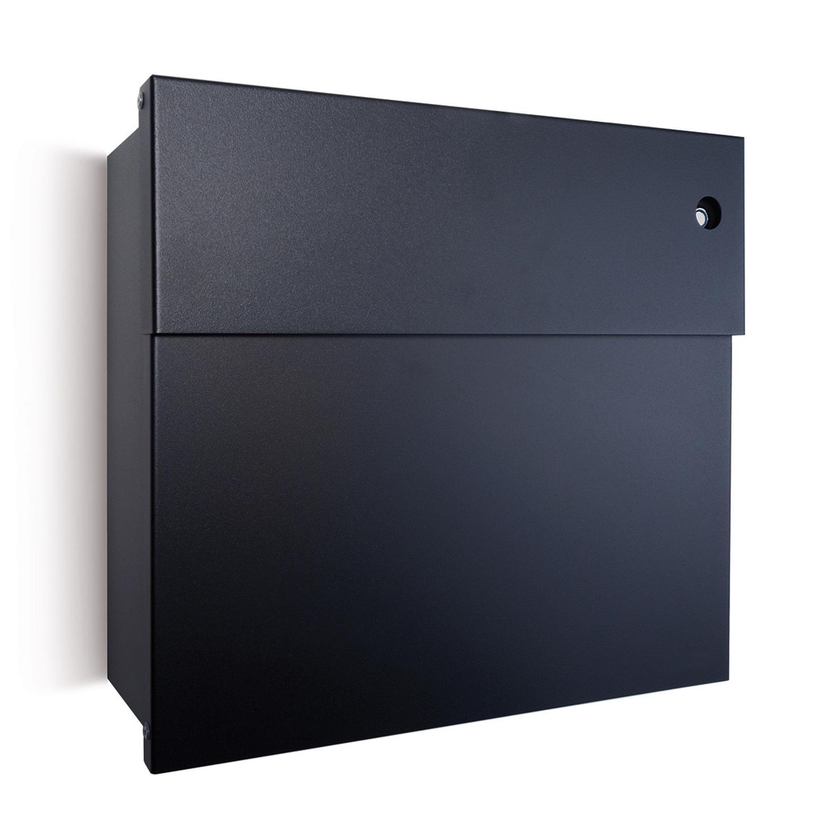 Briefkasten Letterman IV, blaue Klingel, schwarz