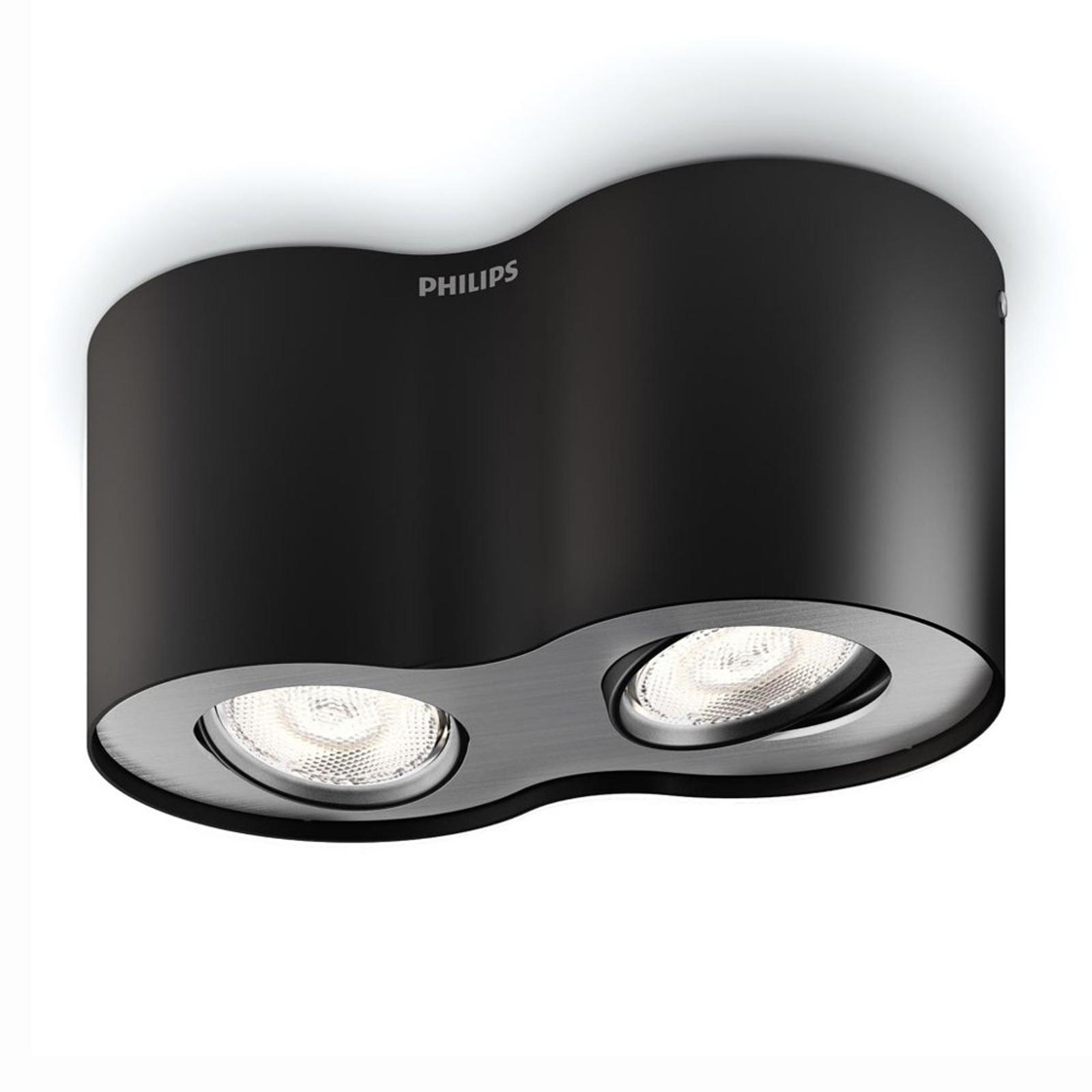 Phase - faretto a LED in nero, 2 lampadine