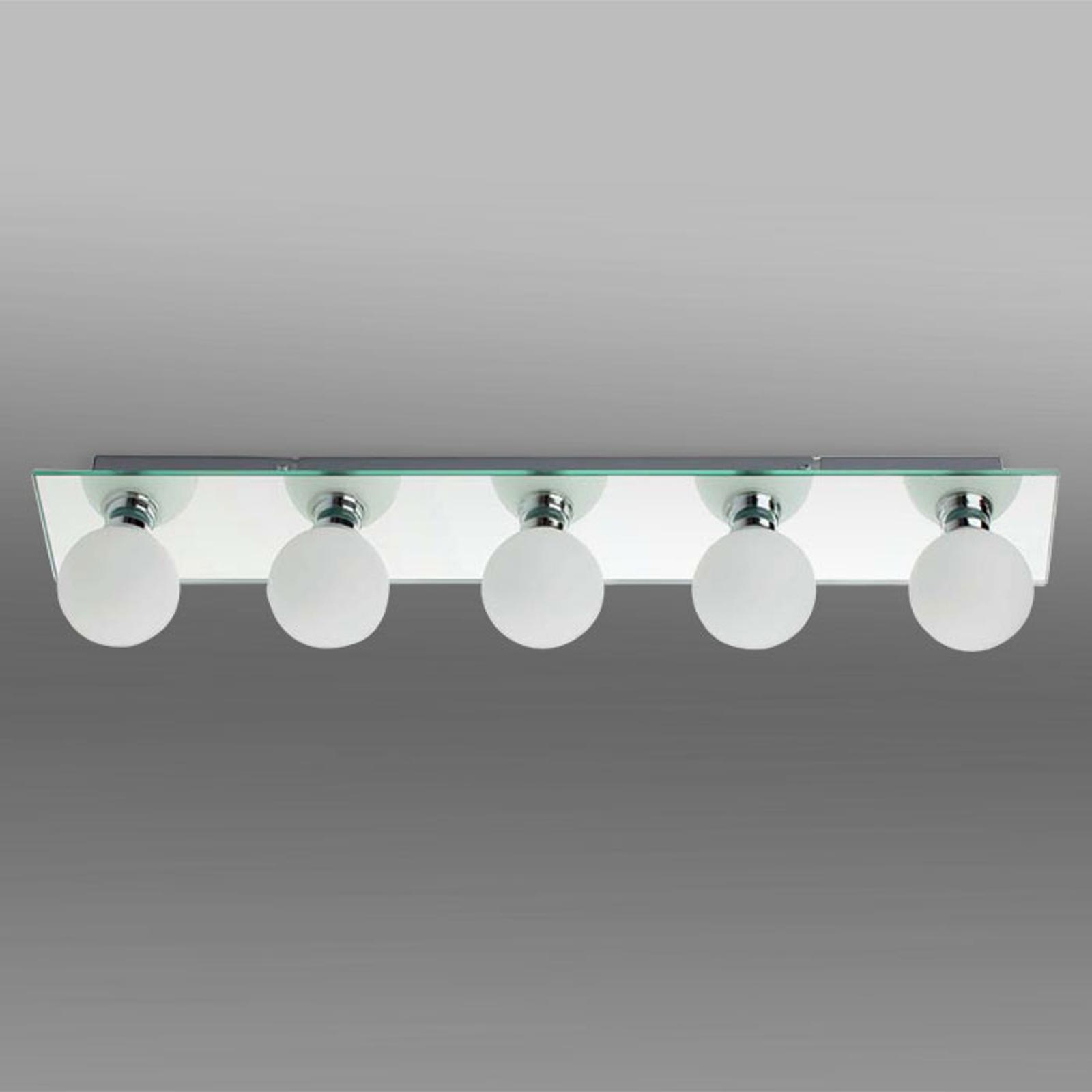 LASS taklampe til bad av speilglass med fem lys