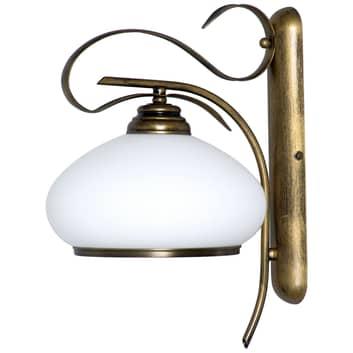 Væglampe 493, opalglas/antik gylden, 1 lyskilde