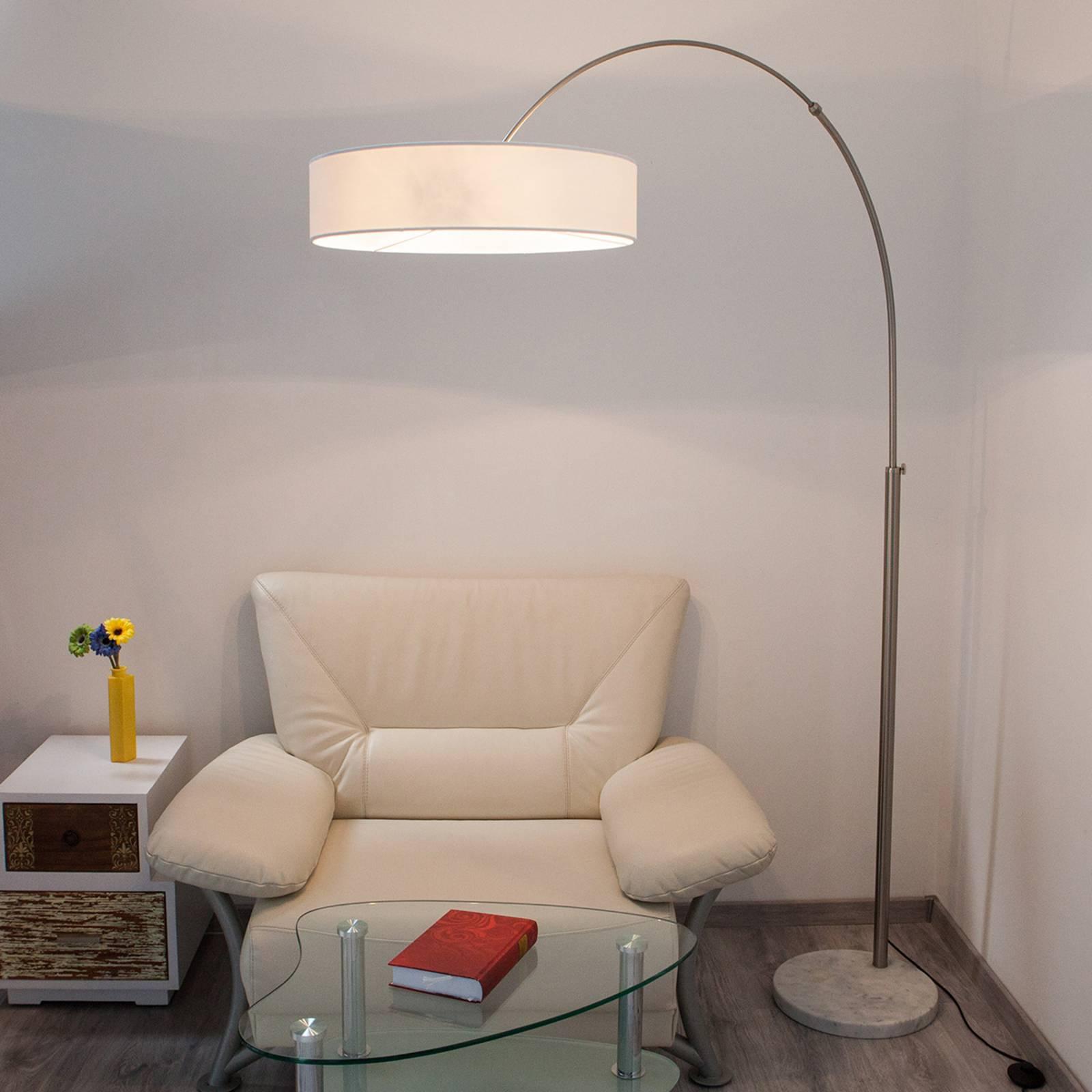 Biała lampa stojąca SHING z materiału