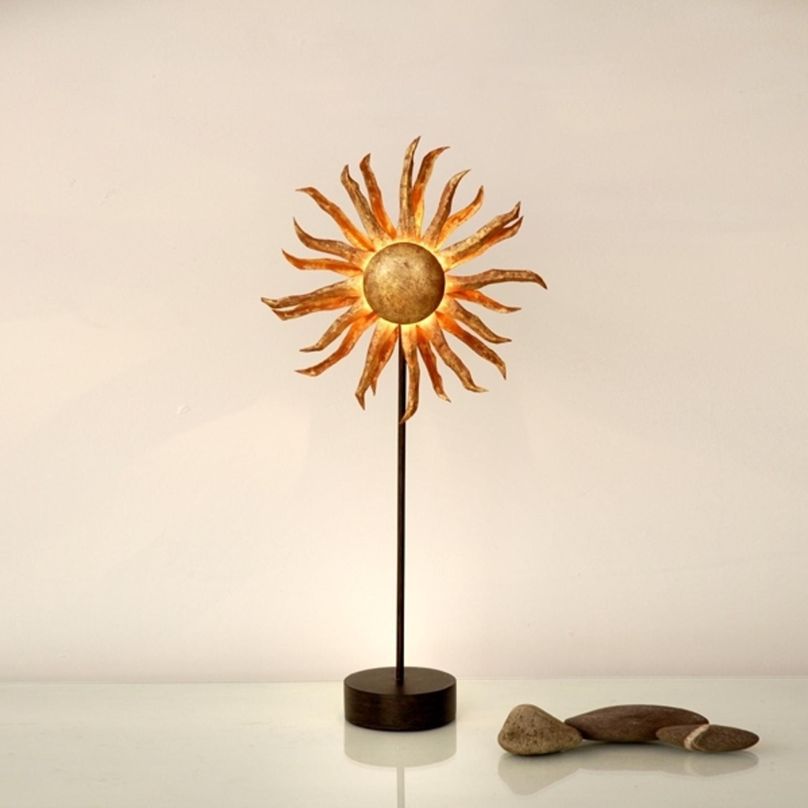 Złota lampa stołowa LED Słońce
