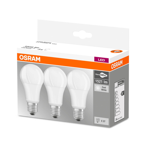 LED-lampa E27 14W, universalvit, 3-pack