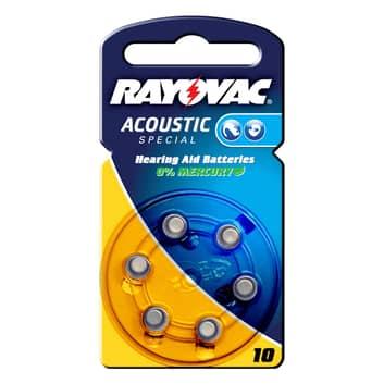 Rayovac 10 Acoustic 1,4V, 105m/Ah knapbatteri