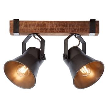 Stropní světlo Plow, černá/dřevo tmavé