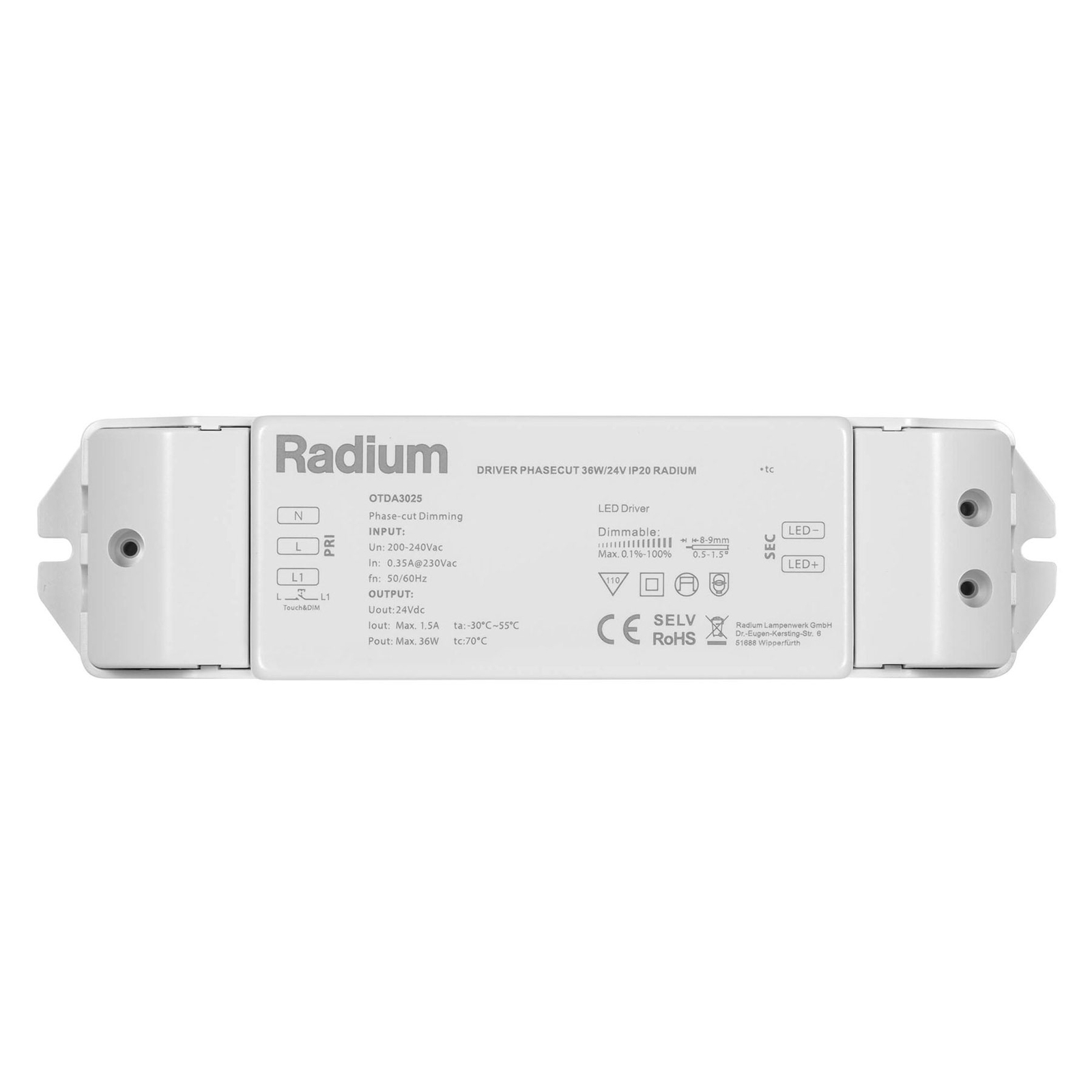 LED-Netzteil Radium OTDA 24V-DC, 36 W