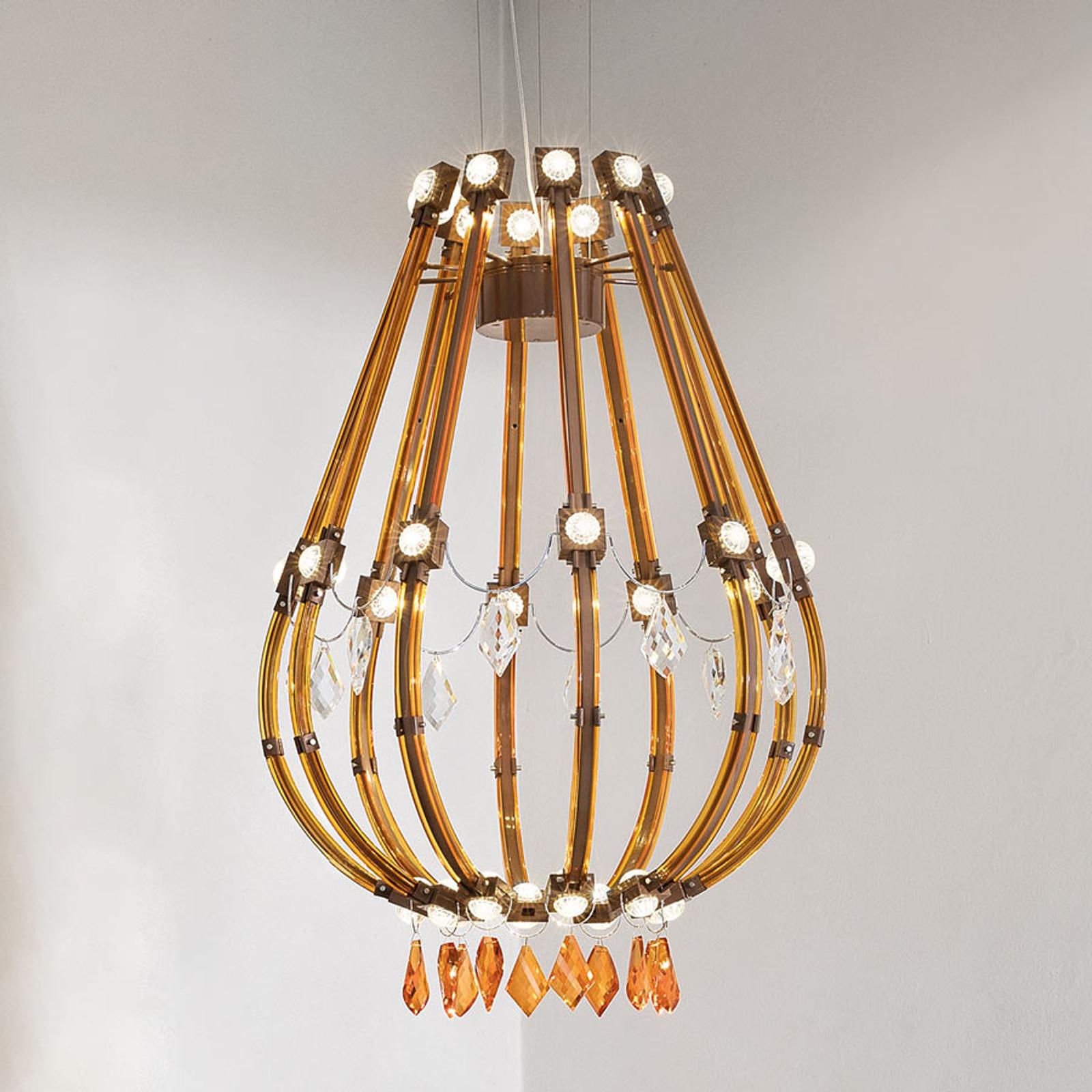 Braun-orangefarbene LED-Hängeleuchte Raqam E
