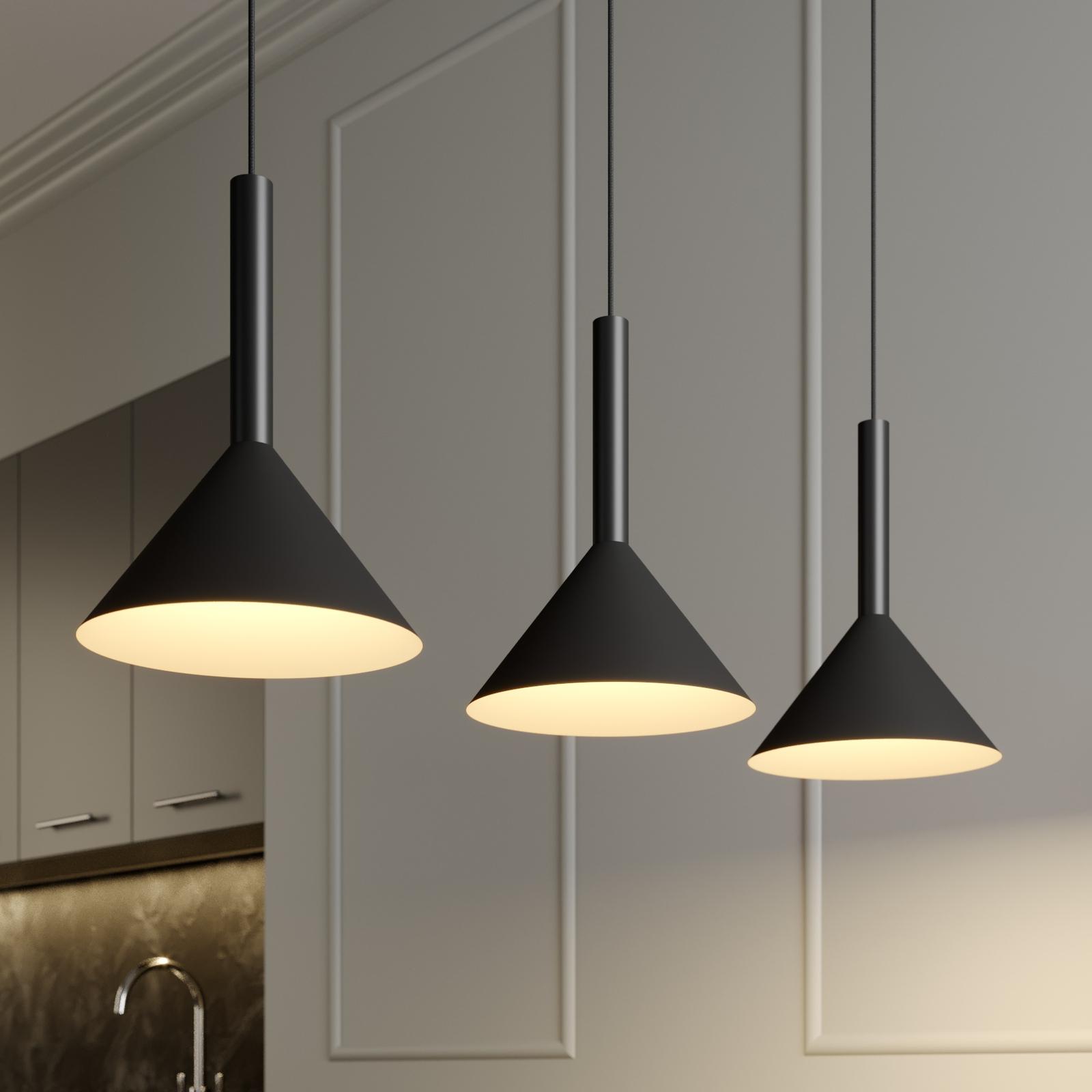 Arcchio Tadej lámpara colgante 3 luces negra