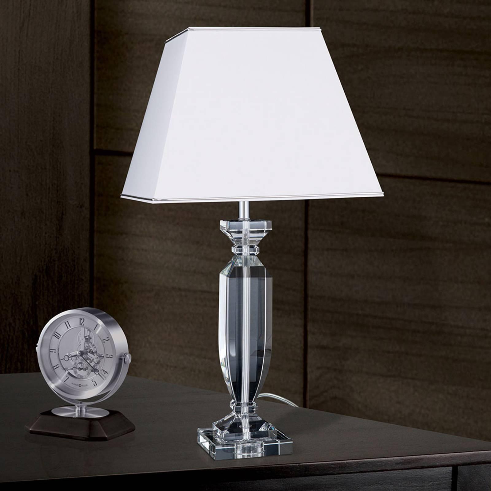 Tischleuchte Pokal mit Kristall chrom/weiß