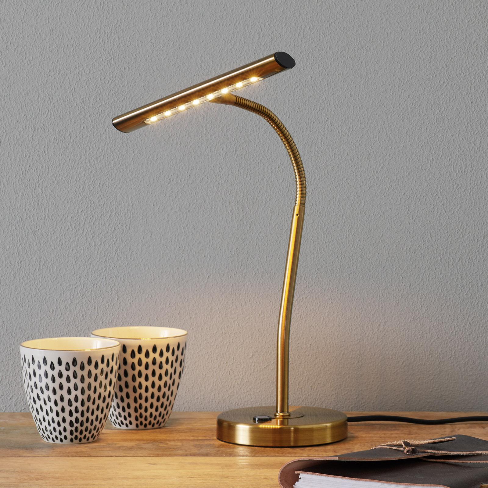 Ohebná stolní LED lampa Curtis, ze starož. mosazi