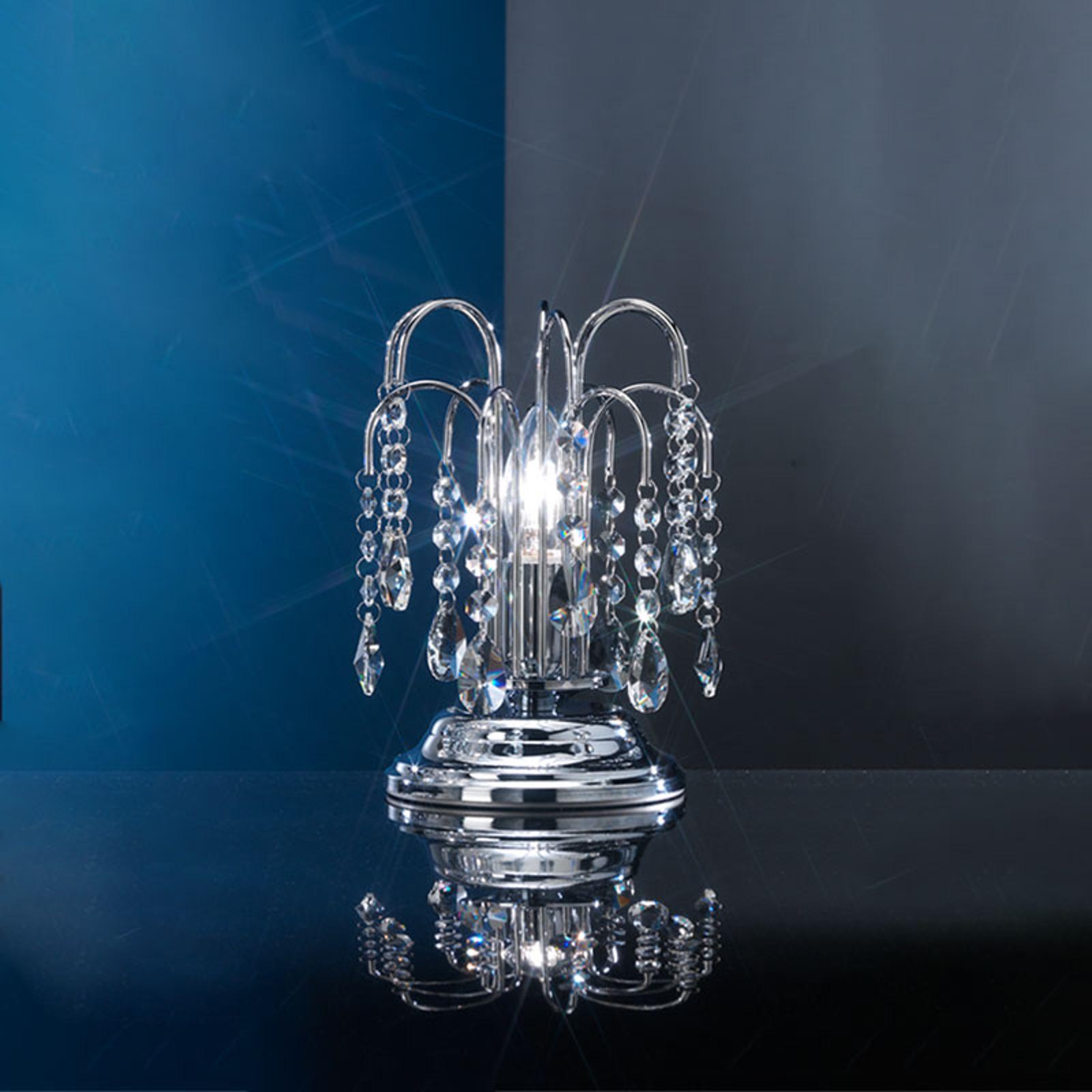Pioggia bordlampe med krystalregn, 26 cm, krom