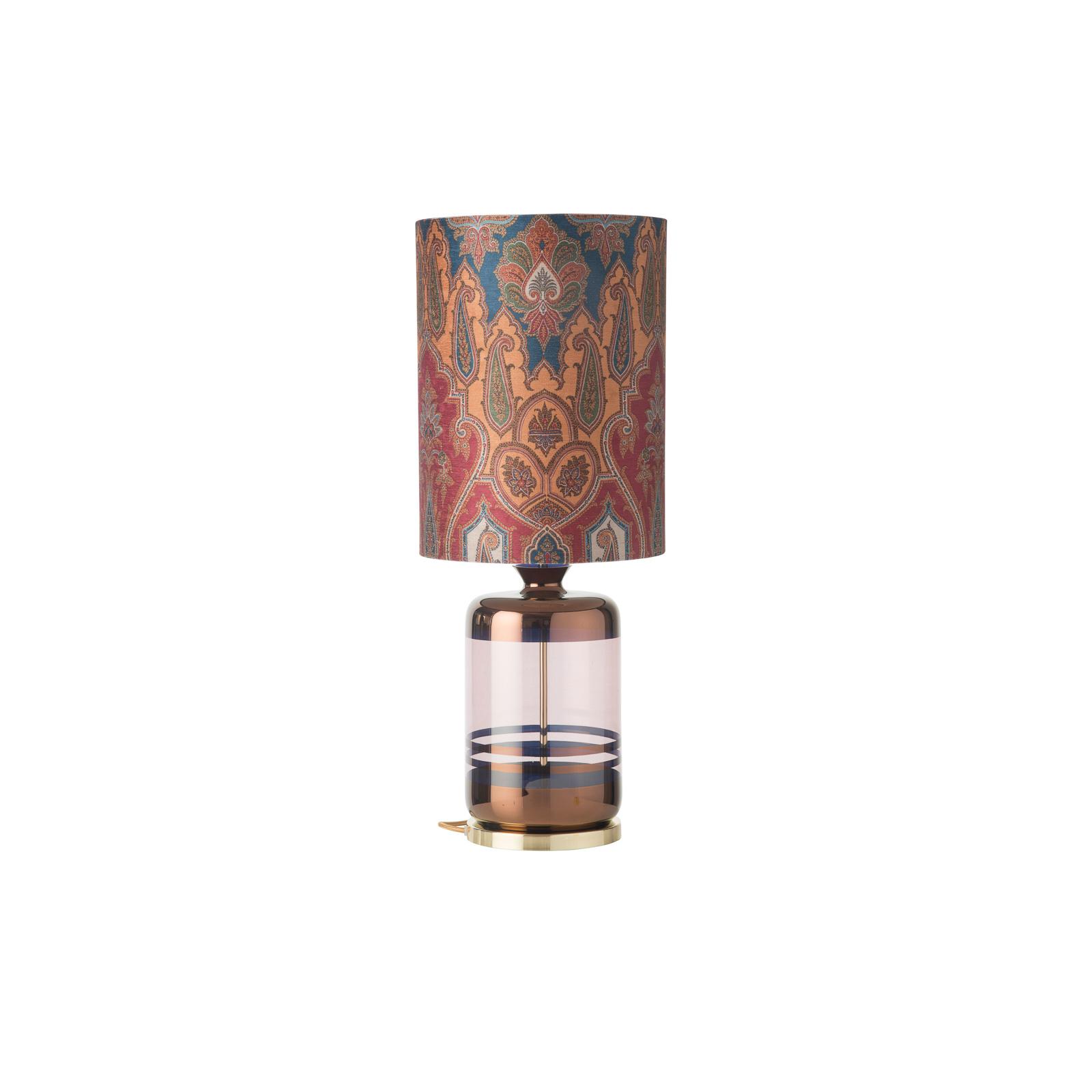 EBB & FLOW Pillar Tischlampe, Brocade blue/red