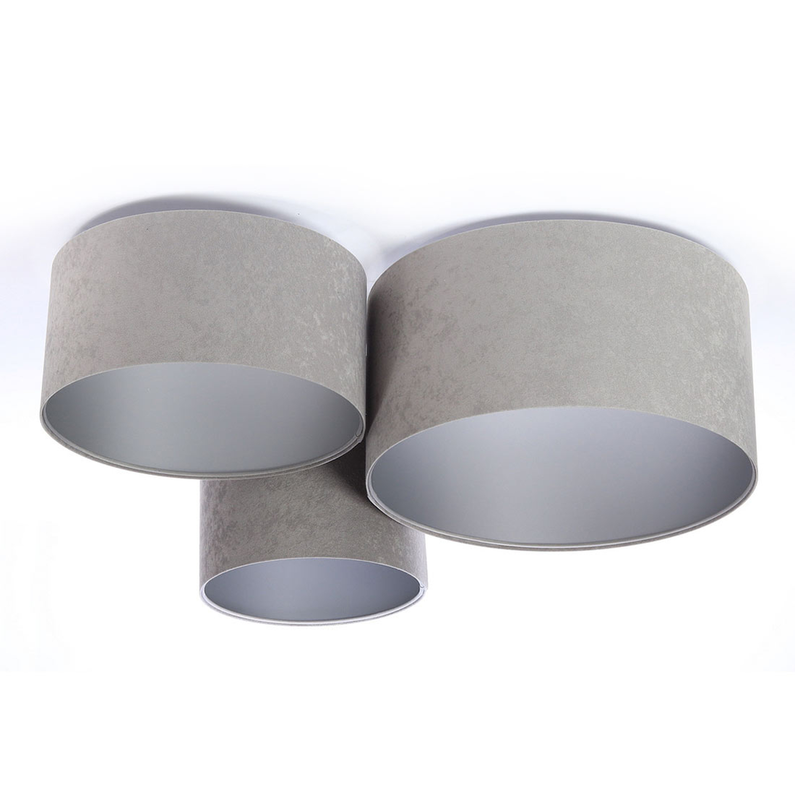 Lampa sufitowa 080, 3-punktowa, jasnoszara-srebrna