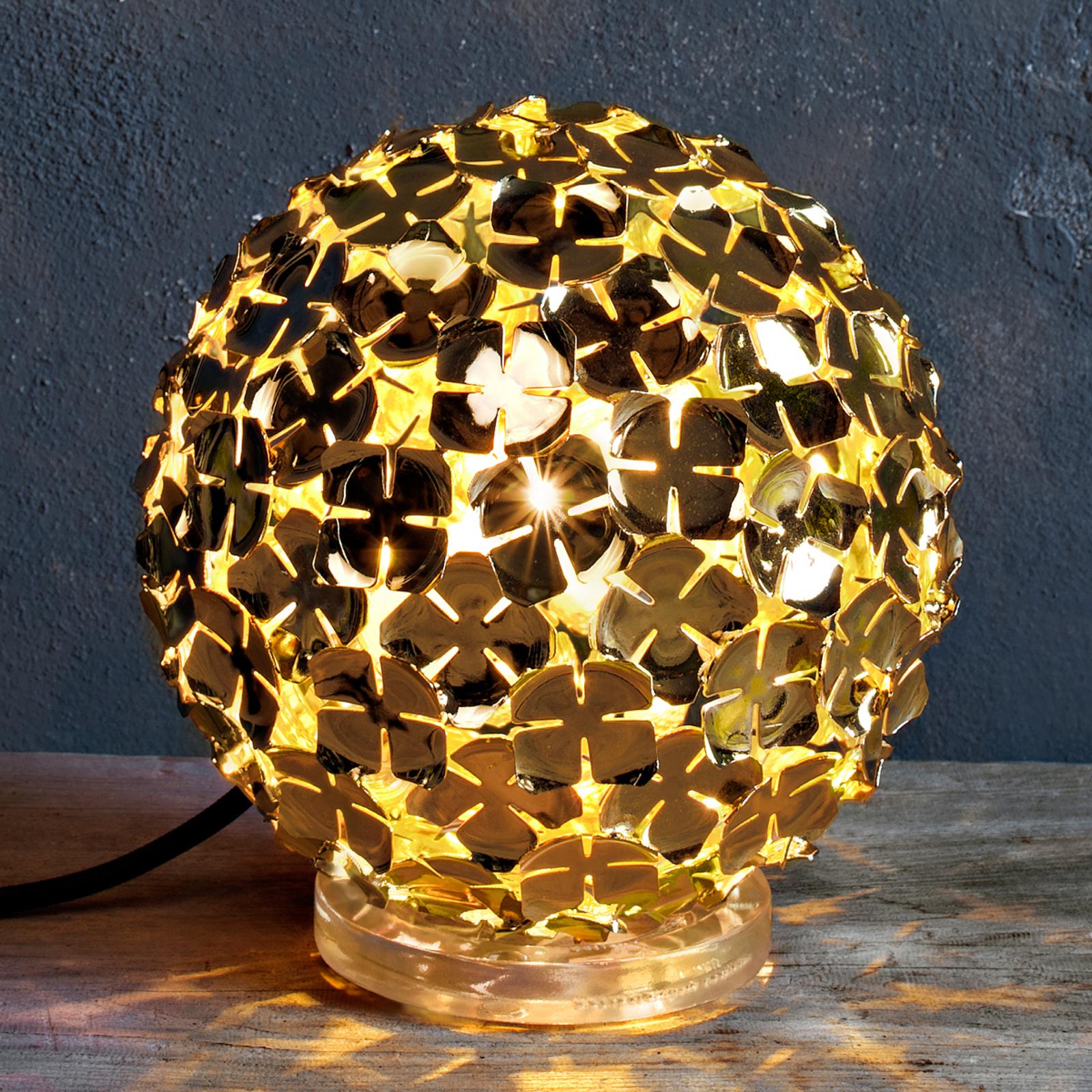 Gullfarget bordlampe Ortenzia med blomsterdekor