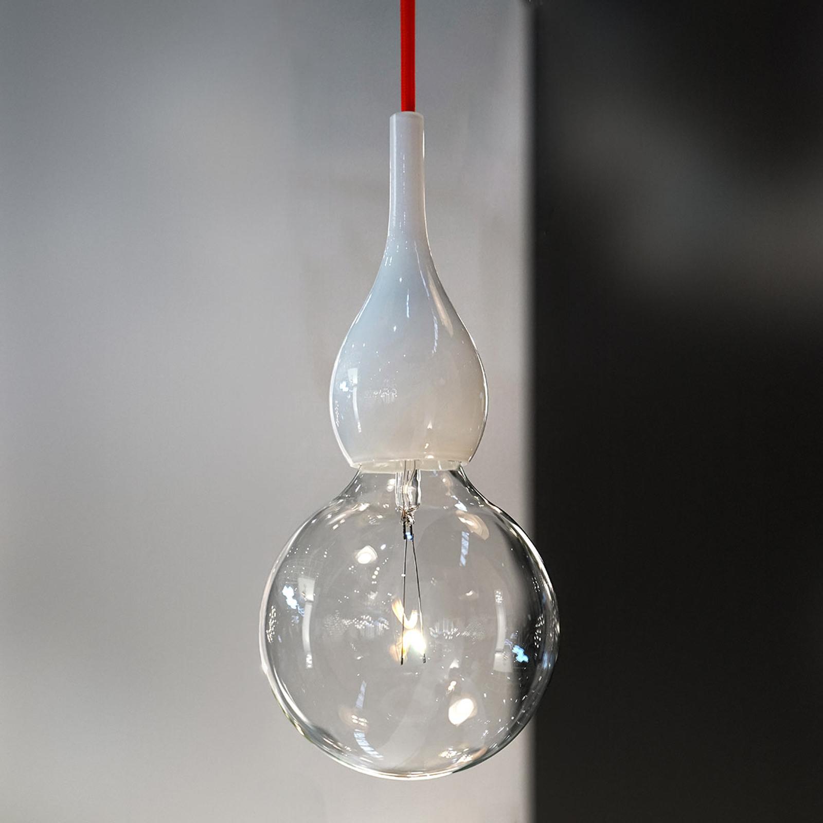 next Blubb mini - Pendelleuchte, opal/Kabel rot