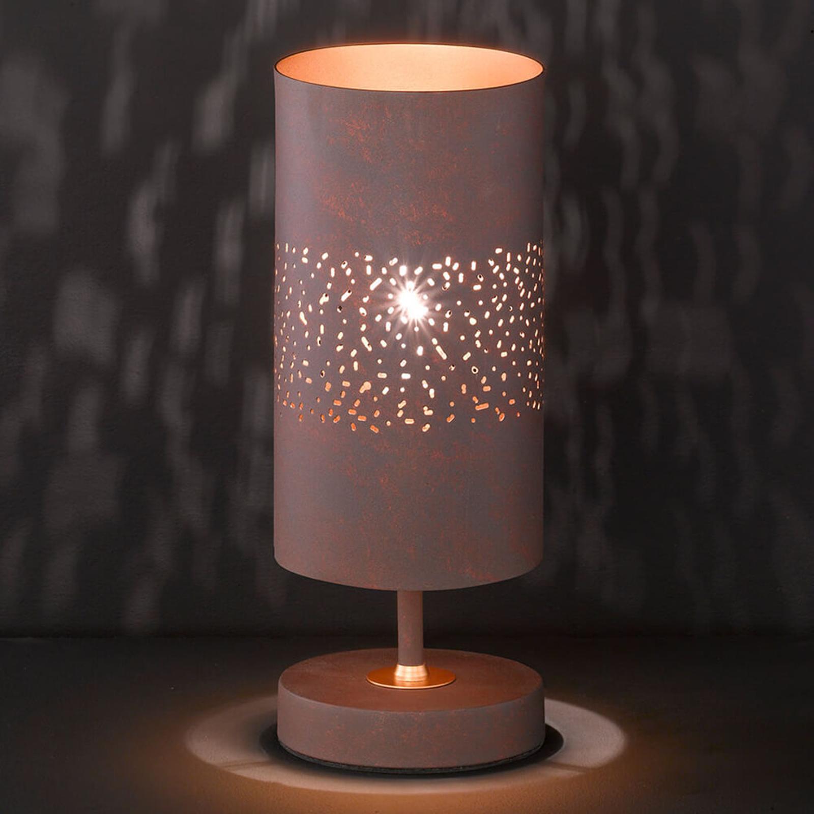 Metalen tafellamp Ancona in bruin-antiek