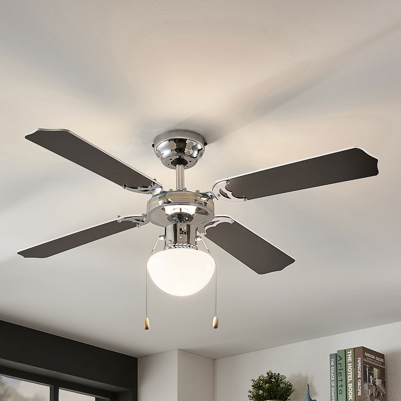 Ventilatore da soffitto Joulin, luce, bianco/nero