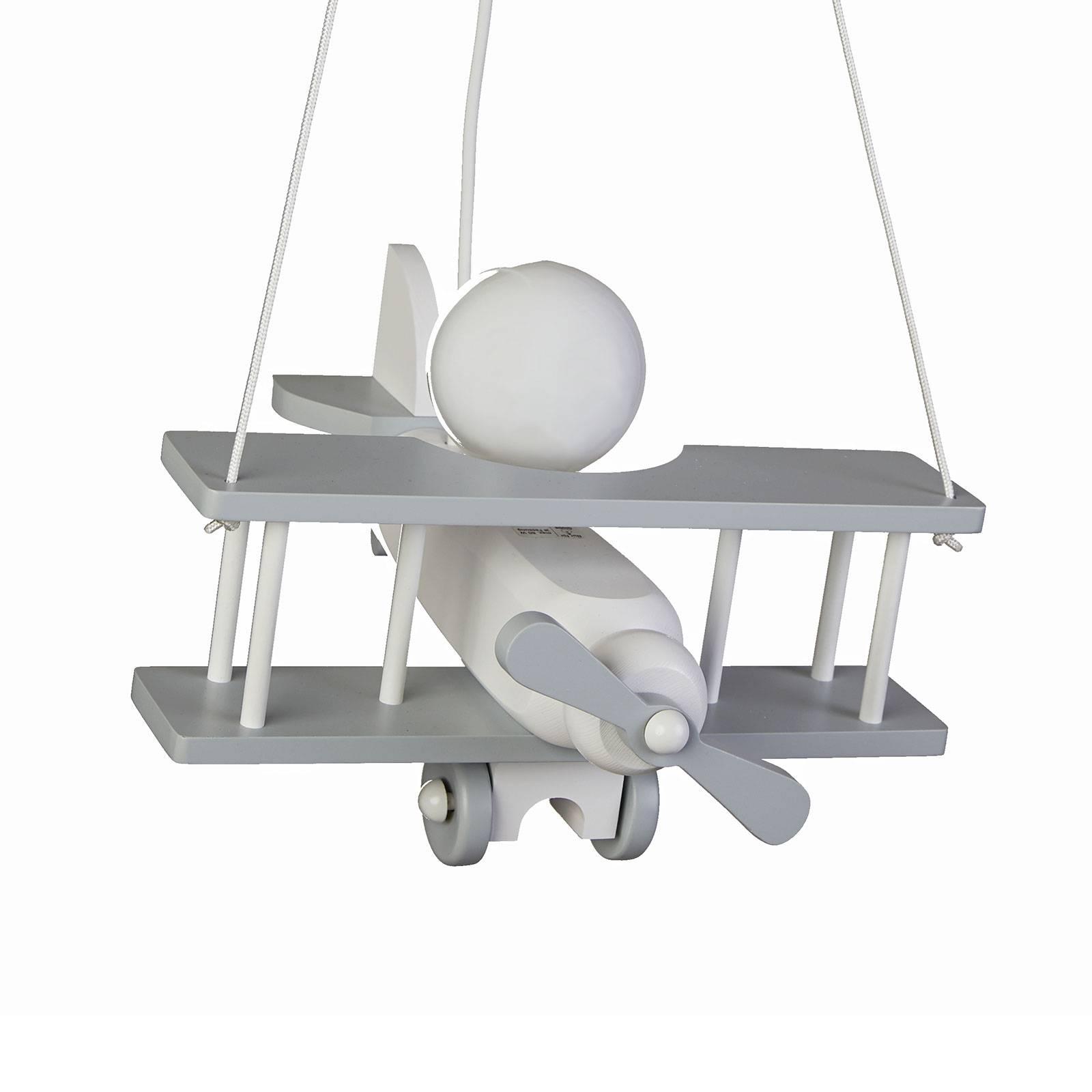Hanglamp vliegtuig, massief hout, grijs-wit