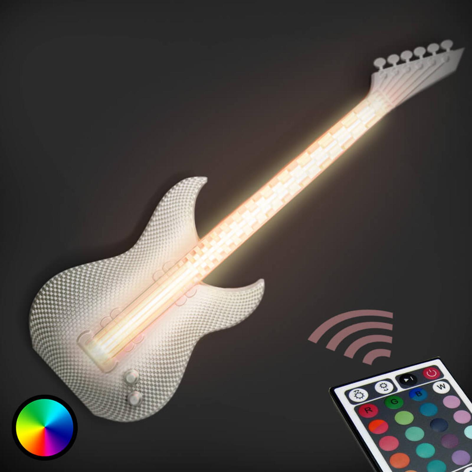 Gitarre - witte LED wandlamp, 3D-print