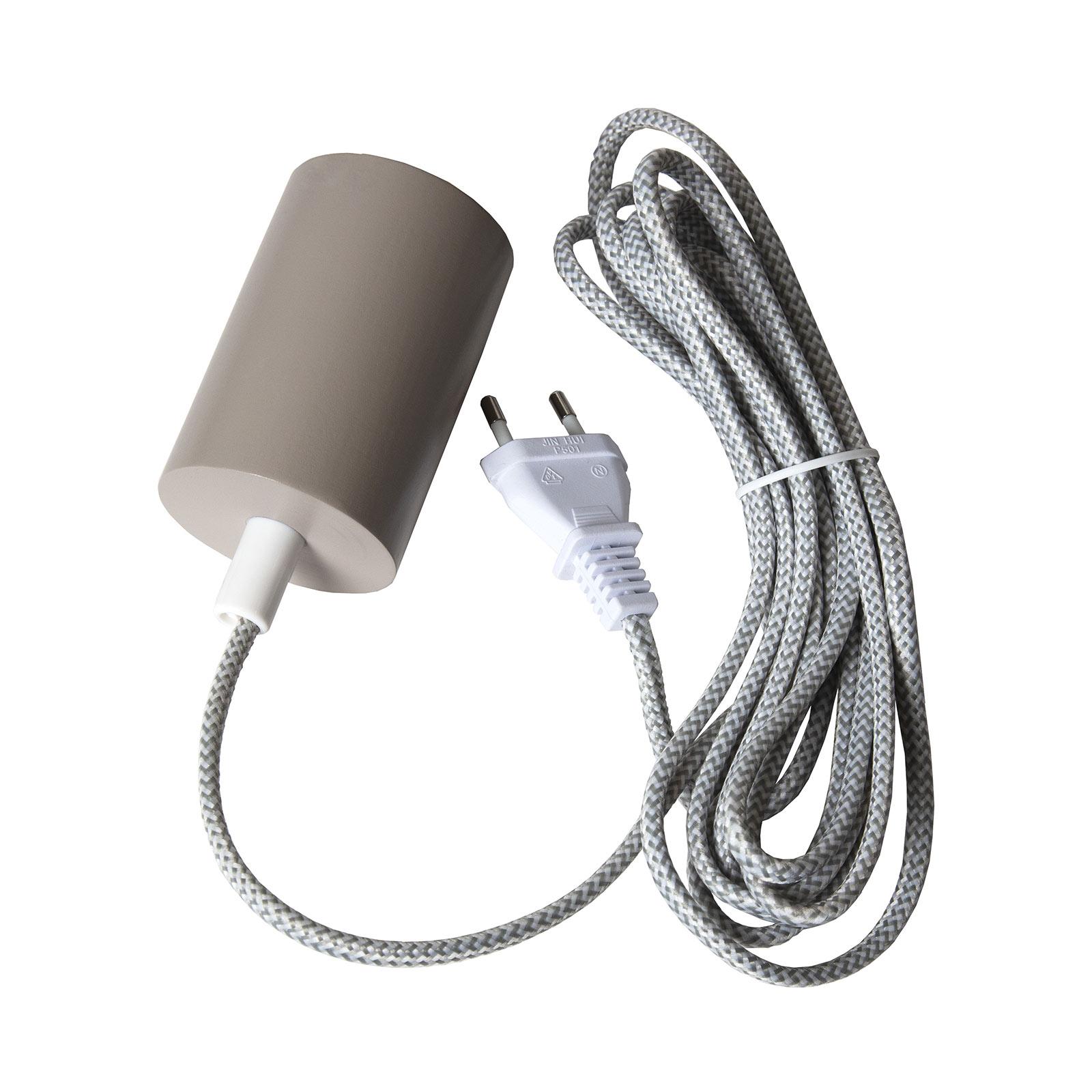 E27-fitting Slim met kabel, grijs