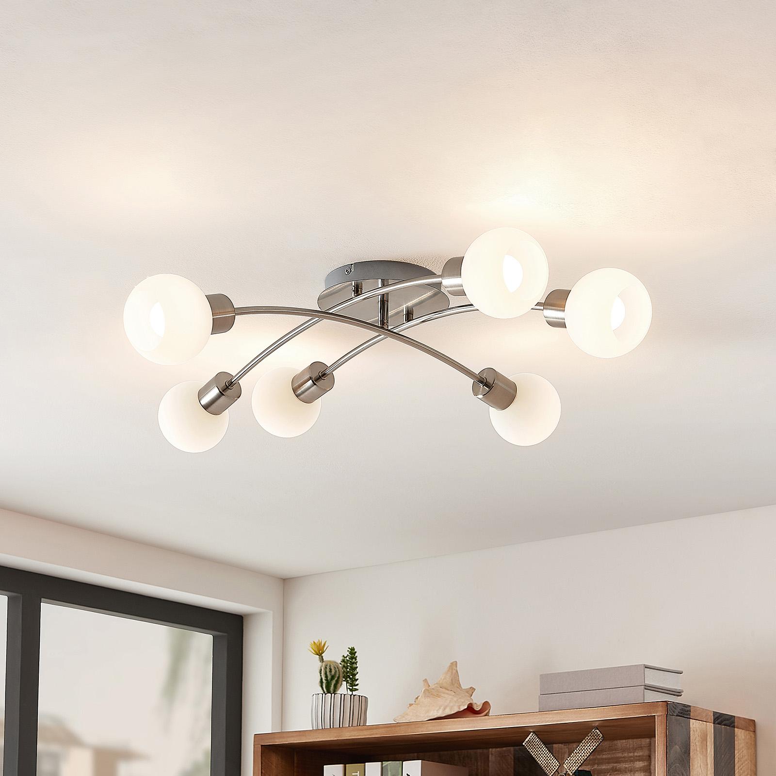 Lindby Agmar LED-taklampa, nickel, 6 lampor