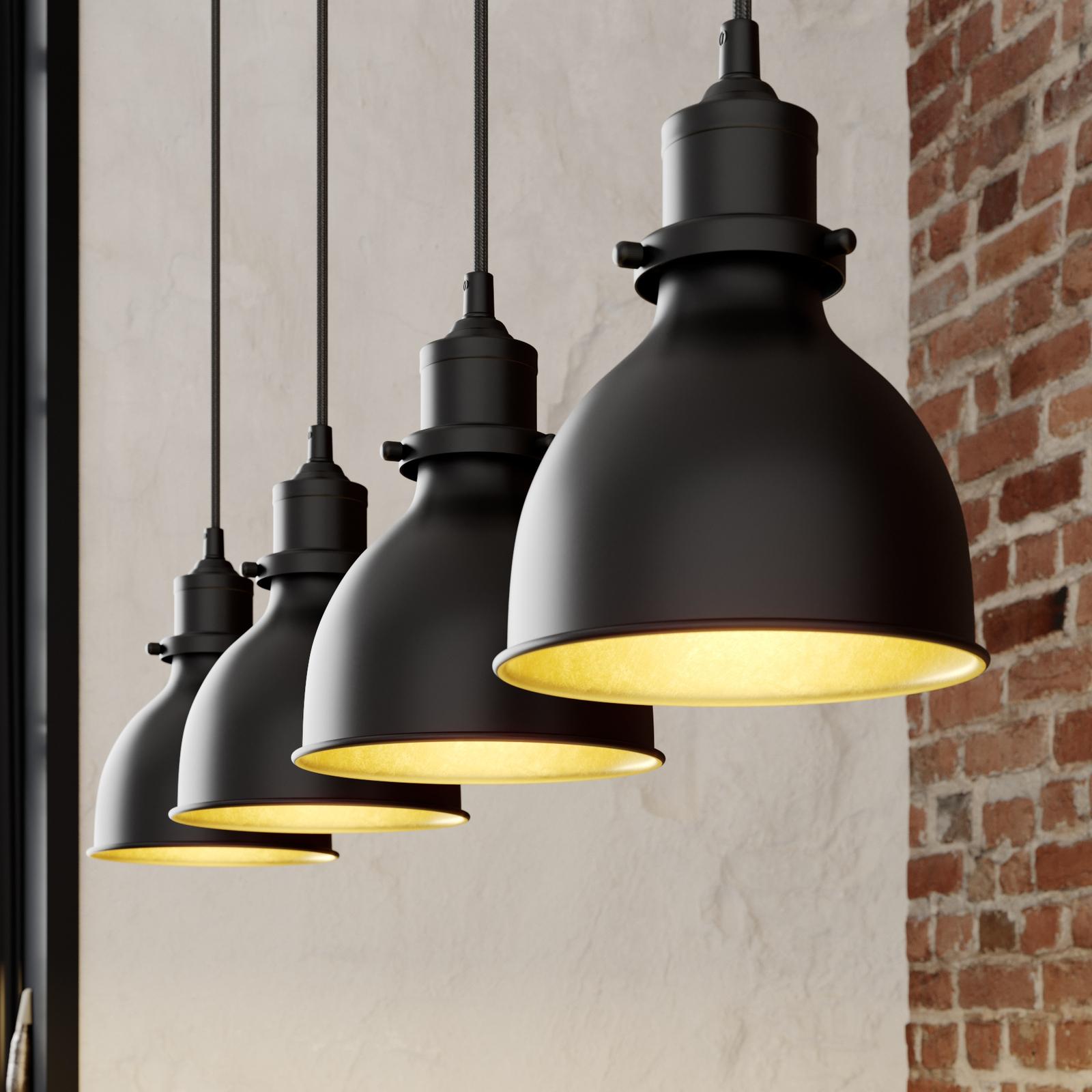 Jasminka – hänglampa med 4 ljuskällor, svart-guld