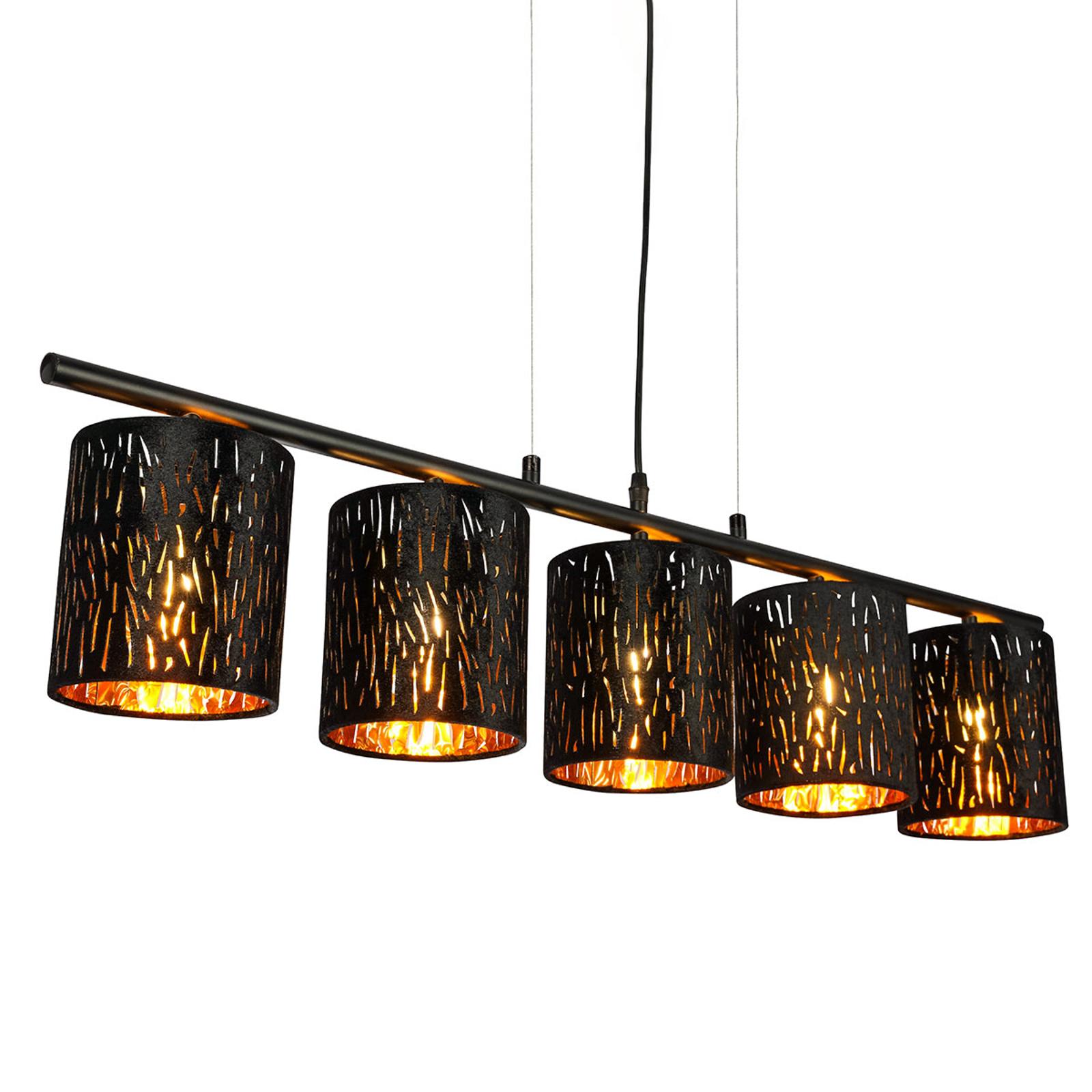 Lampa wisząca Tuxon z czarno-złotymi kloszami