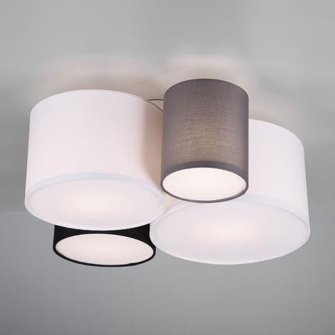 Plafondlamp Hotel met vier textiel lampenkappen