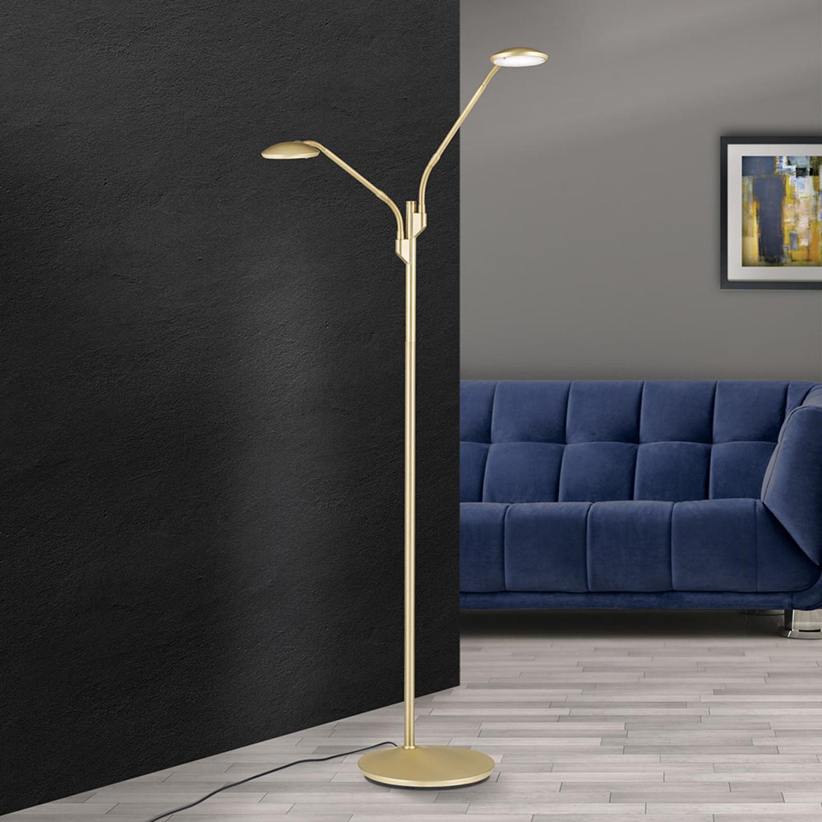 LED-gulvlampe Cobra, 2 lyskilder, messing-matt