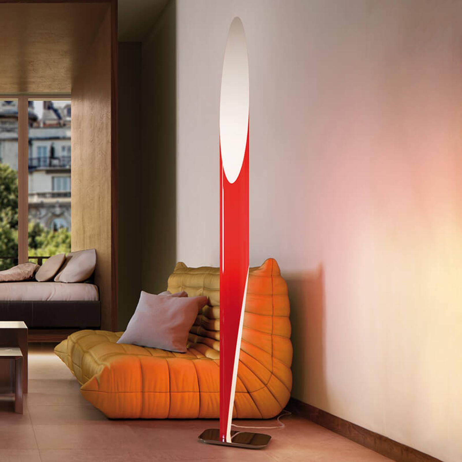 Efektowna lampa stojąca Shakti czerwona