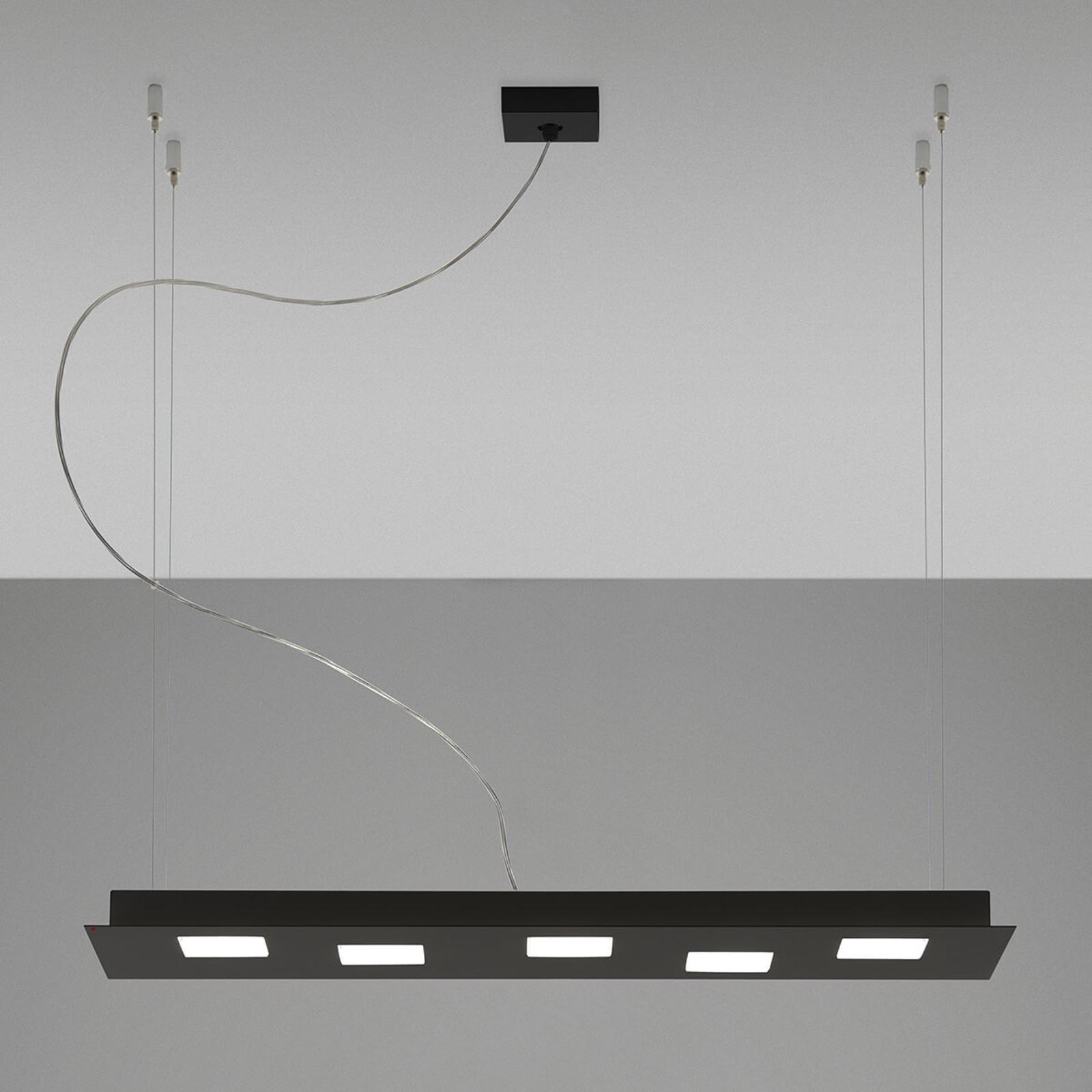 Fabbian Quarter - černé závěsné světlo LED 5zdr
