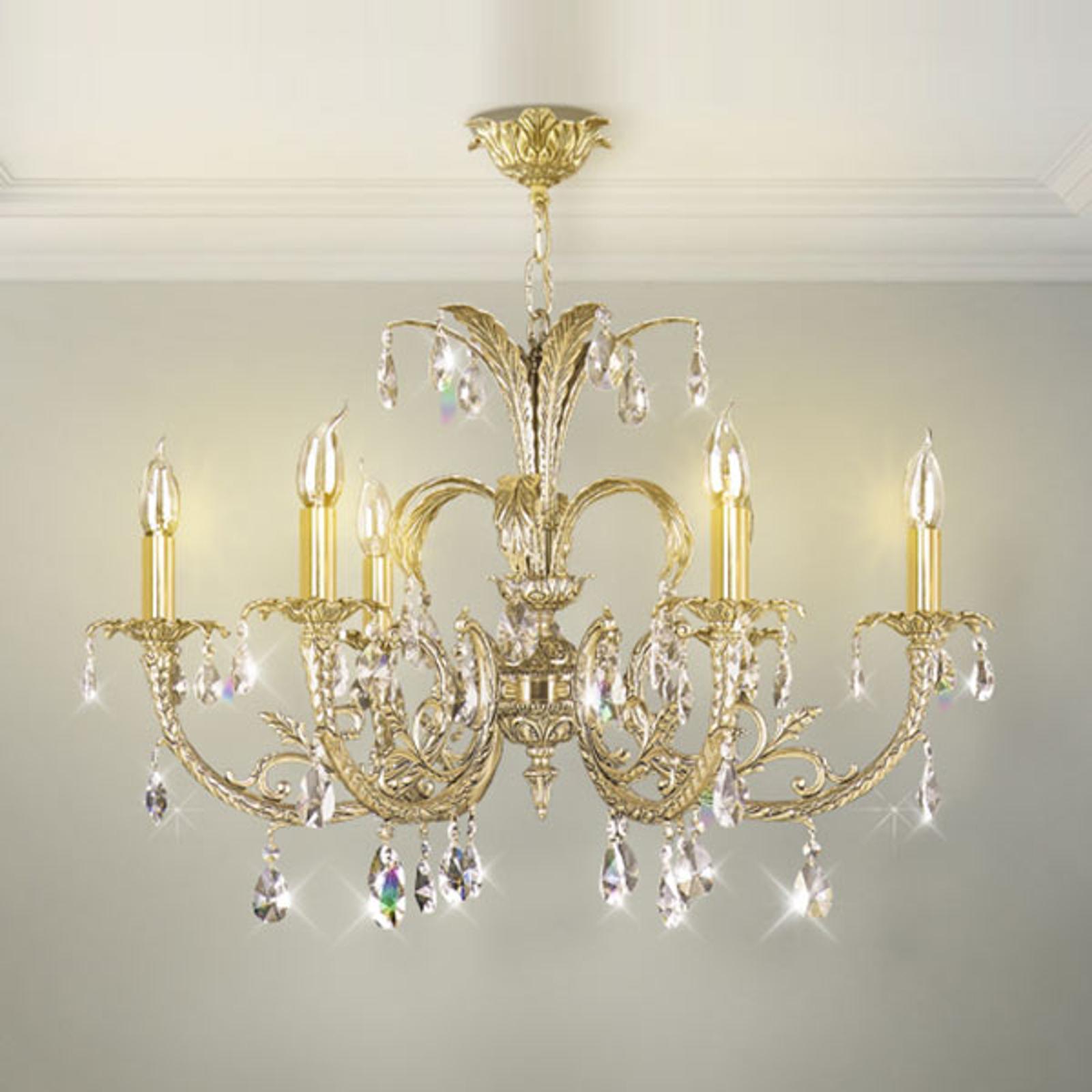 Lampadario cristallo Palmera, oro anticato, 6 luci
