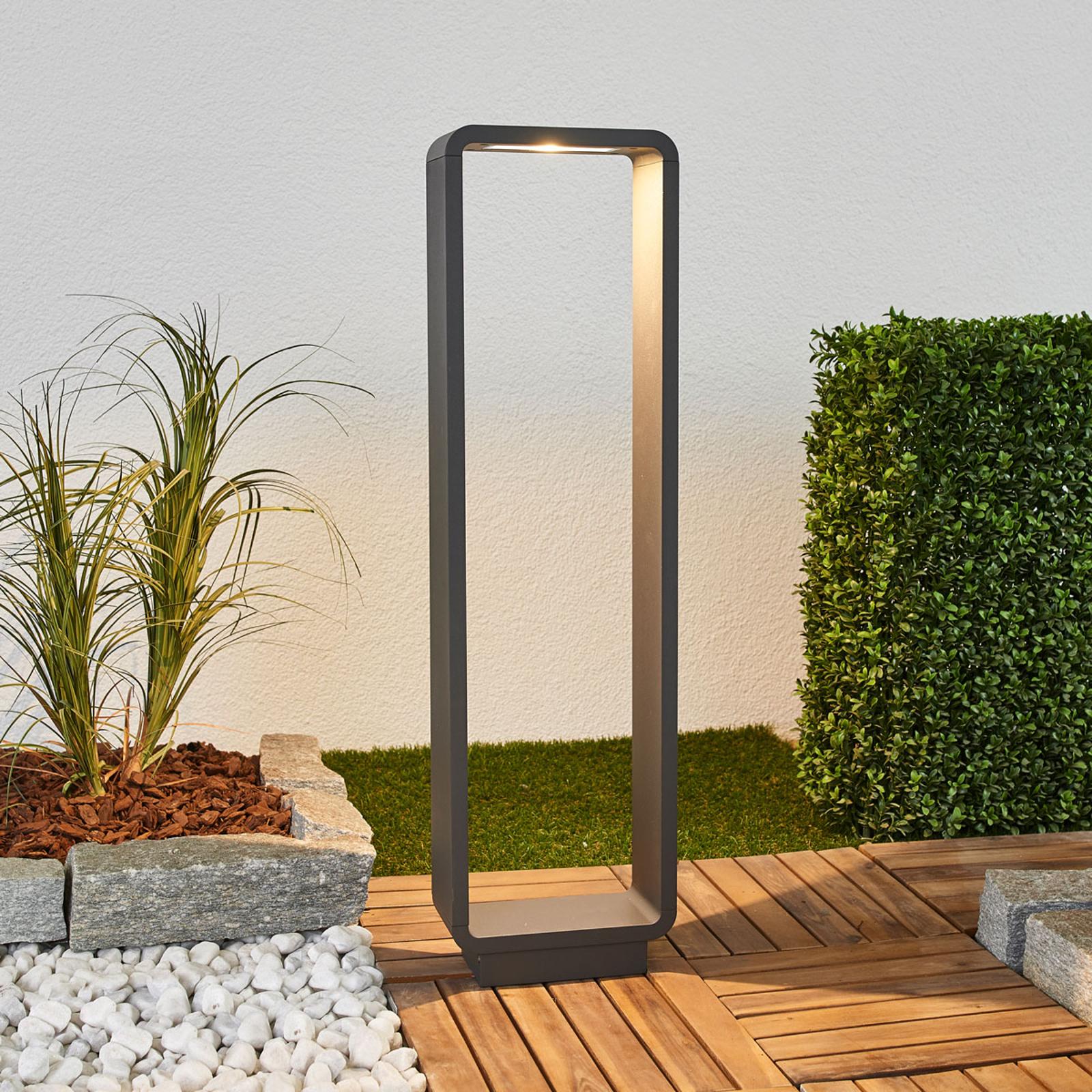 Ninon, słupek ogrodowy LED, zaokrąglony