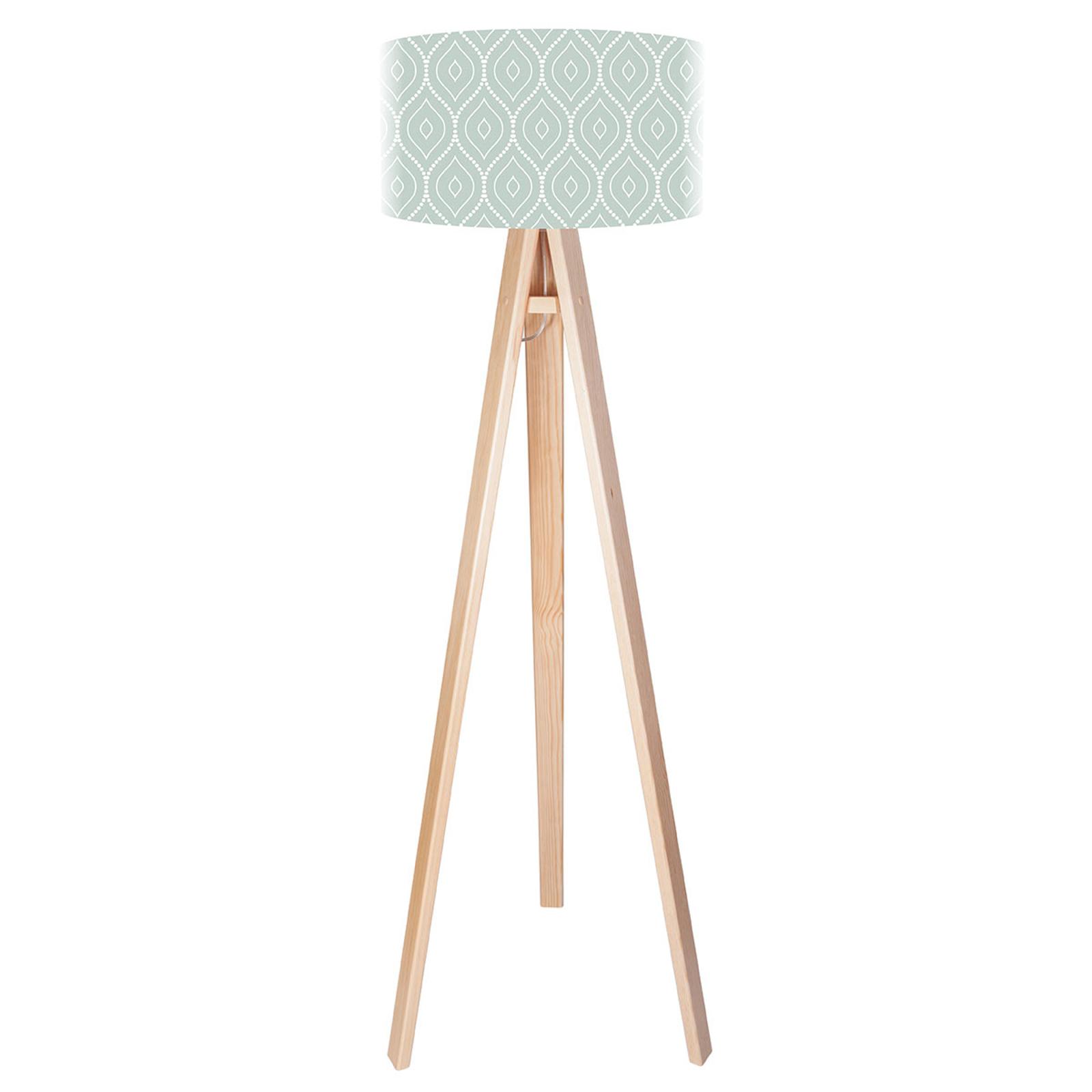 Trójnożna lampa podłogowa Rena zadrukowany klosz