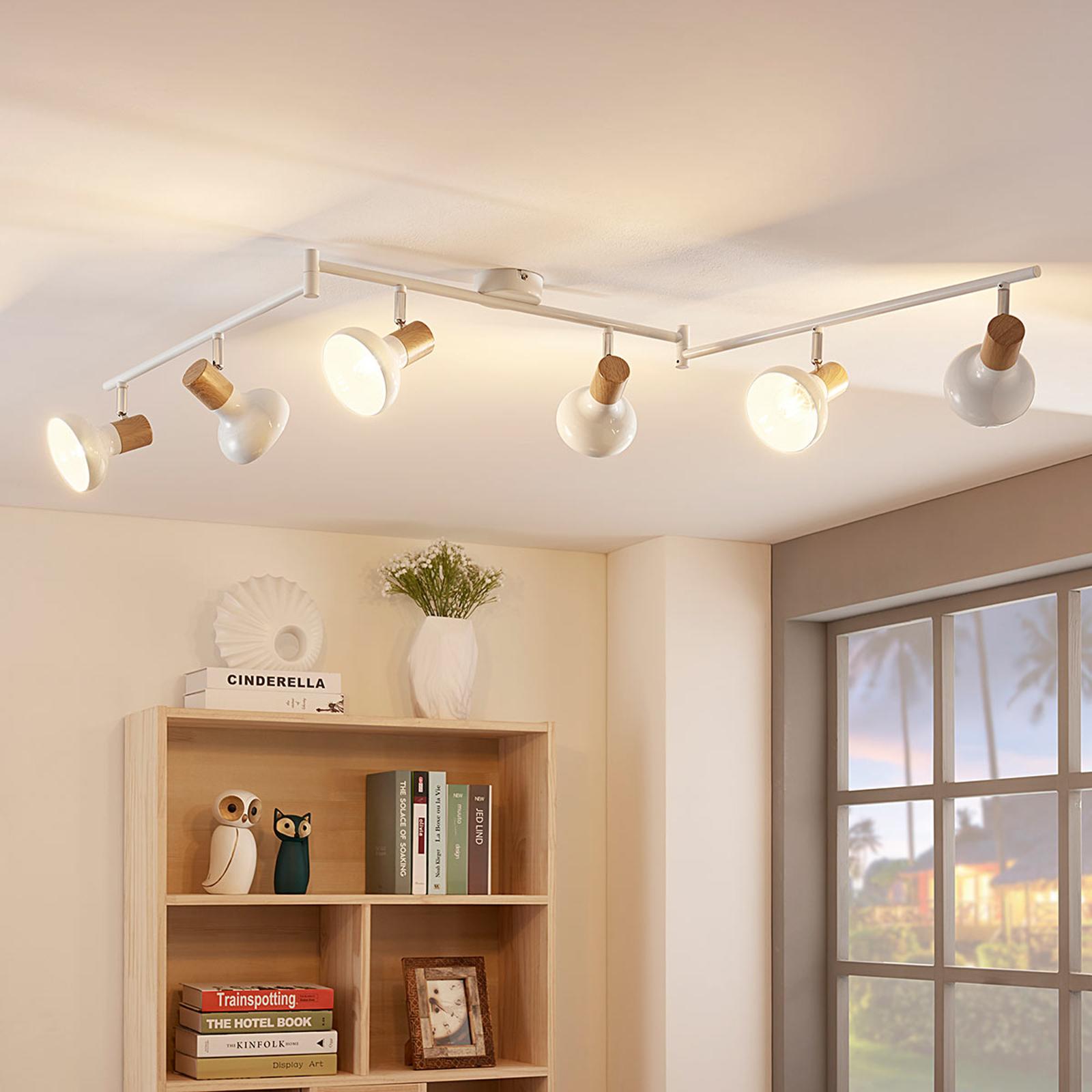 6zdrojové stropní bodové osvětlení Fridolin, bílé